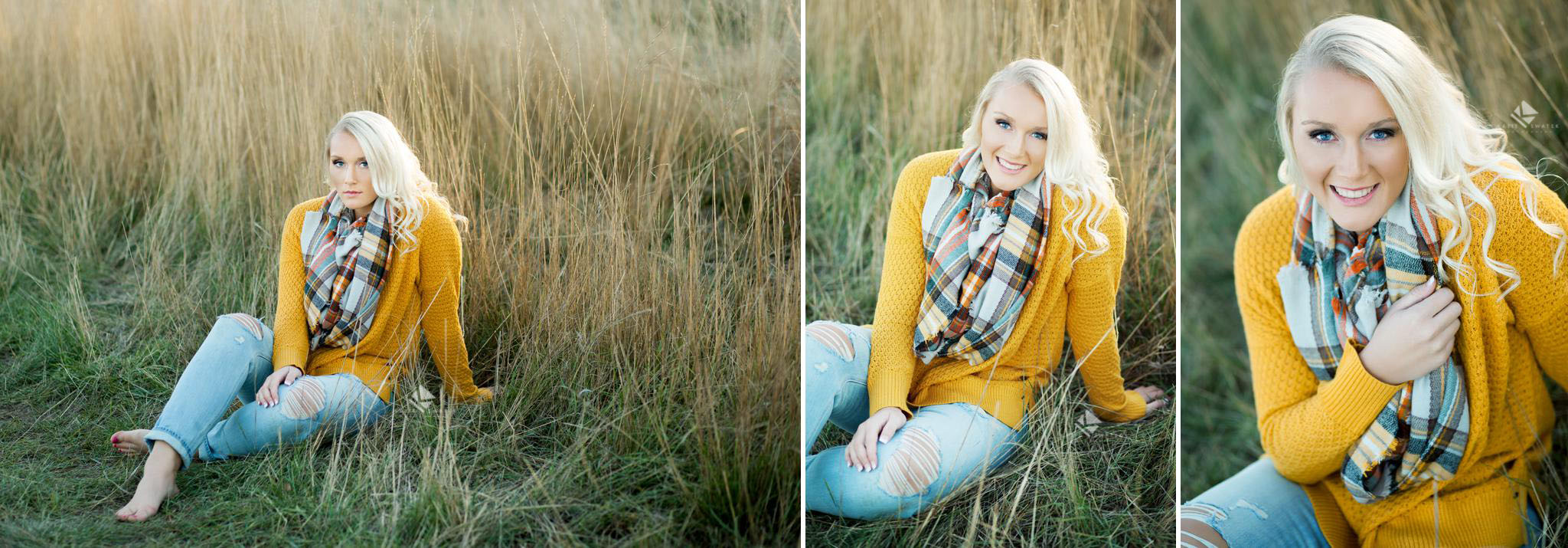 blonde senior girl in a mustard colored sweater and a plaid scarf sitting in the middle of a white field in the fall