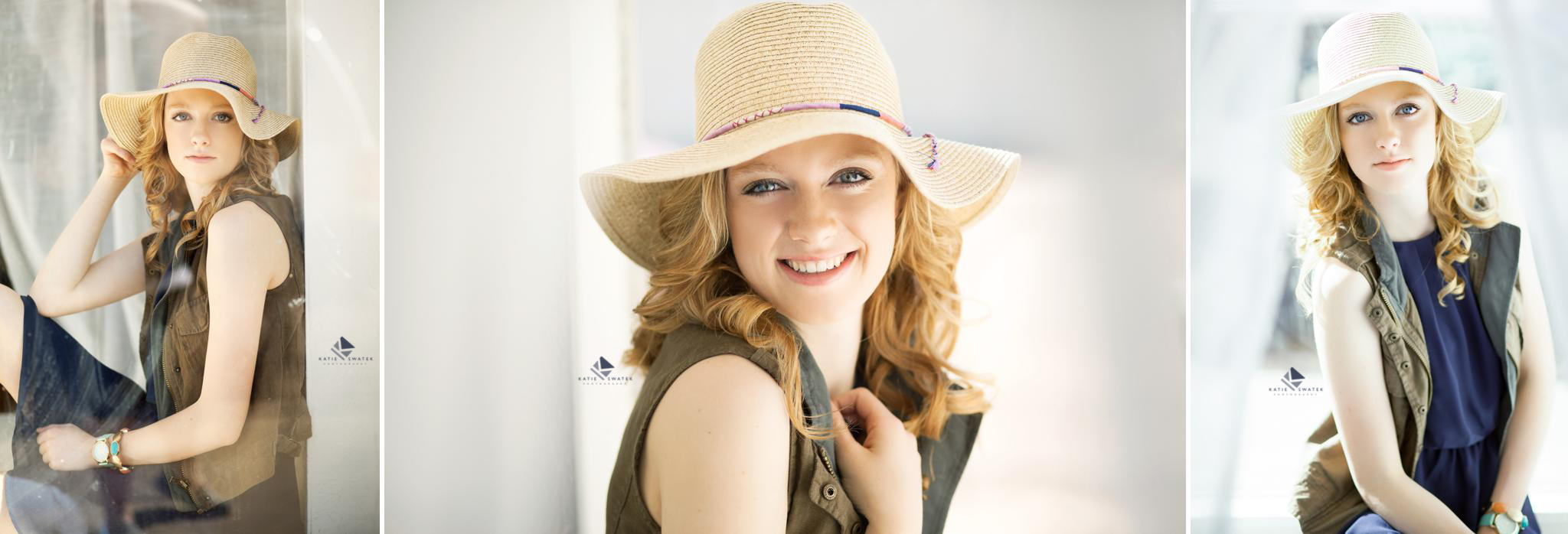 strawberry blonde senior girl in a hat and an olive vest sitting in the white window seat of a studio