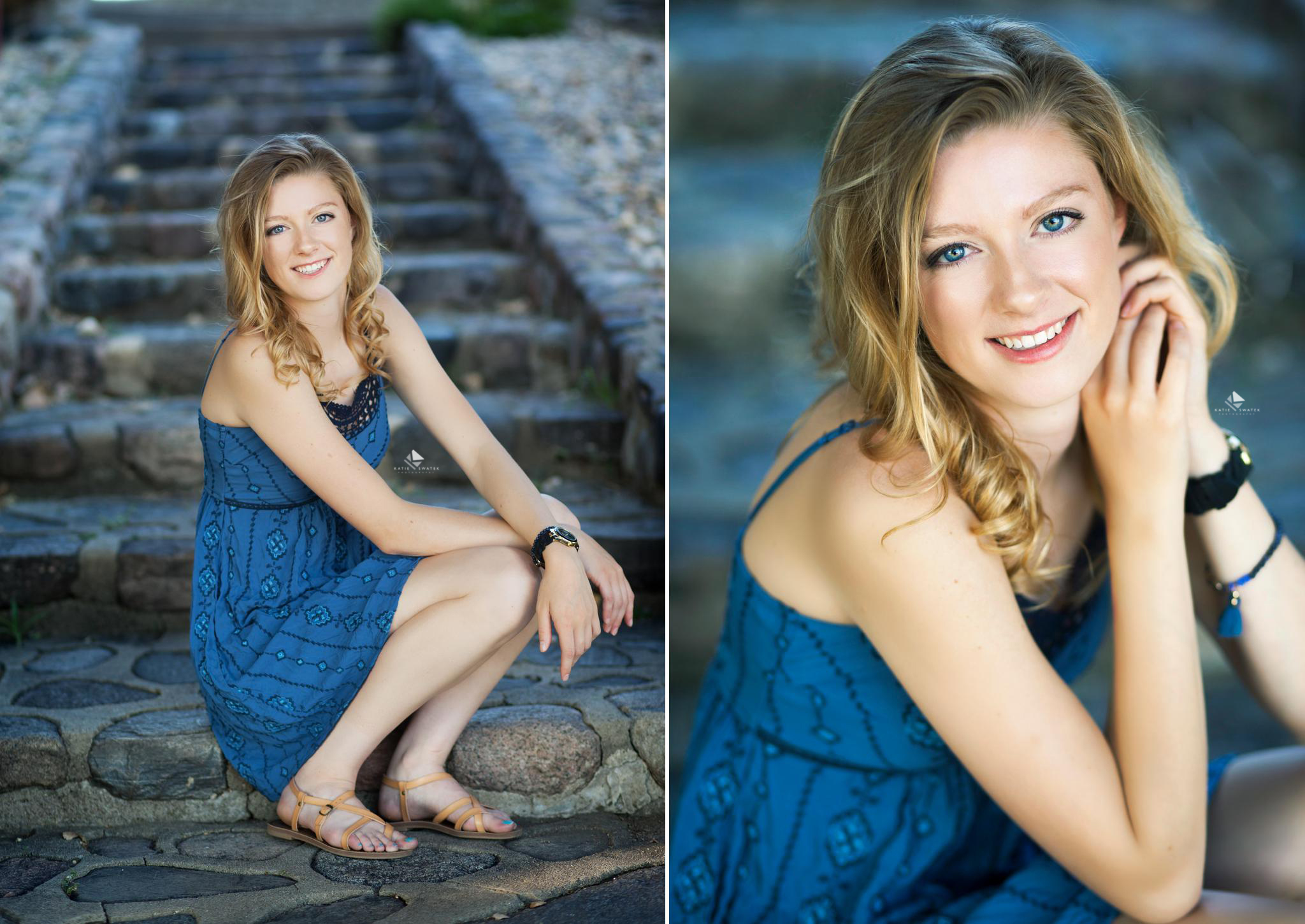 blonde senior girl in a blue printed dress sitting on a dark stone stair case for senior pictures