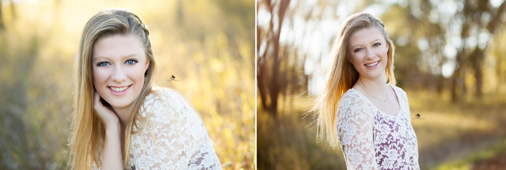 close up shots of a blonde senior girl in a white lace top in the fall foliage