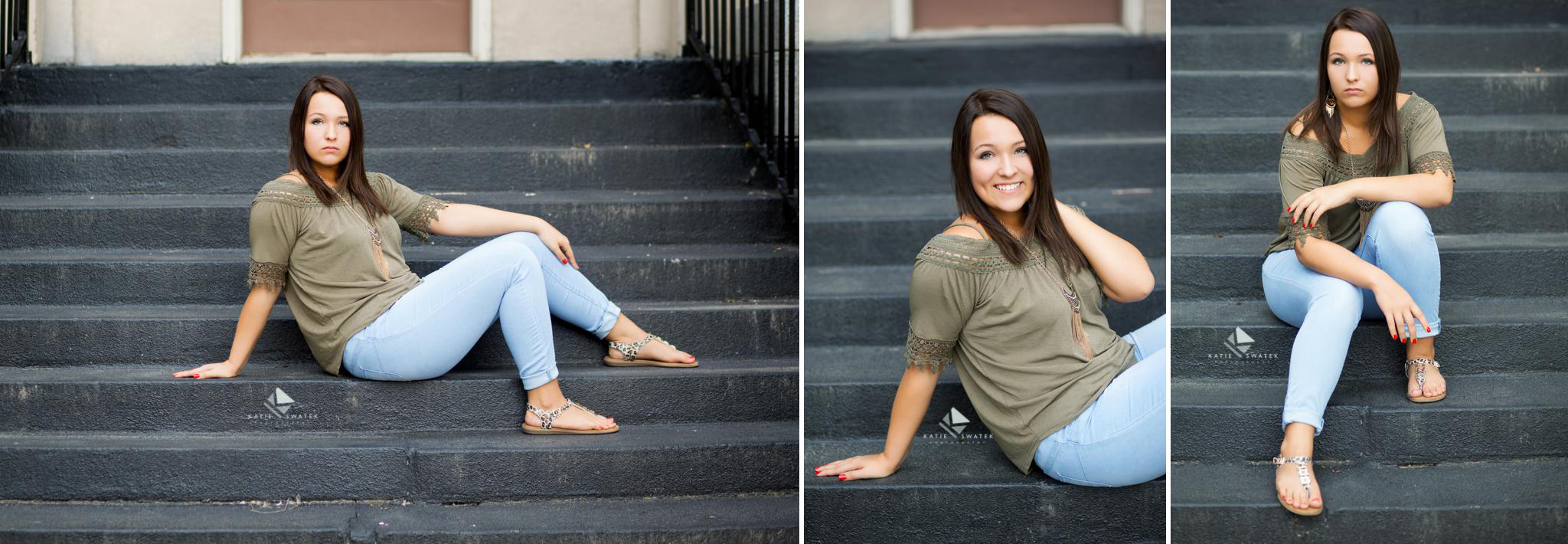 brunette senior girl in an olive top and light jeans sitting on a black stair case in Mitchell SD