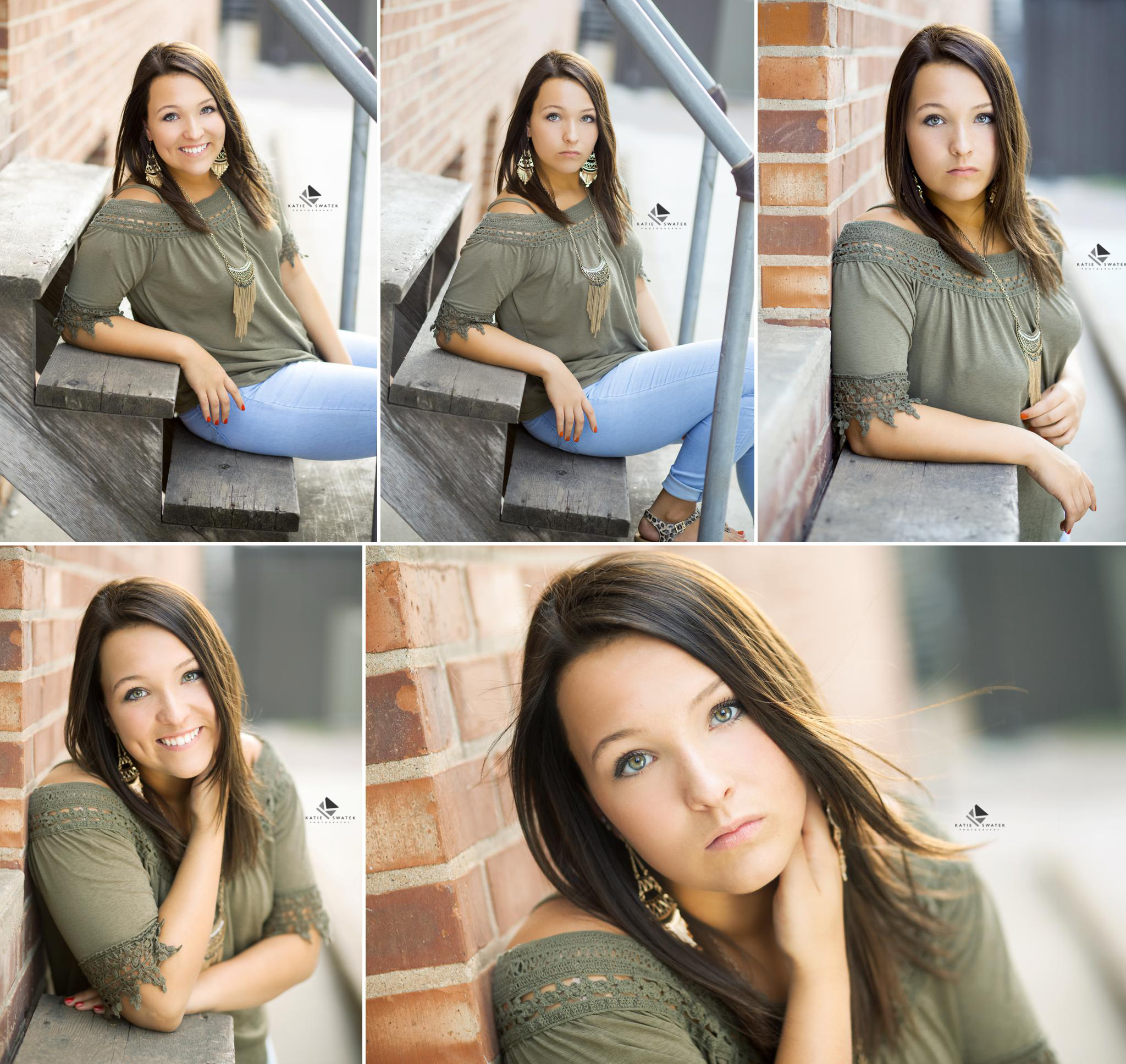 brunette senior girl in an olive top and light jeans sitting on a wood stair case next to a brick building in Mitchell SD