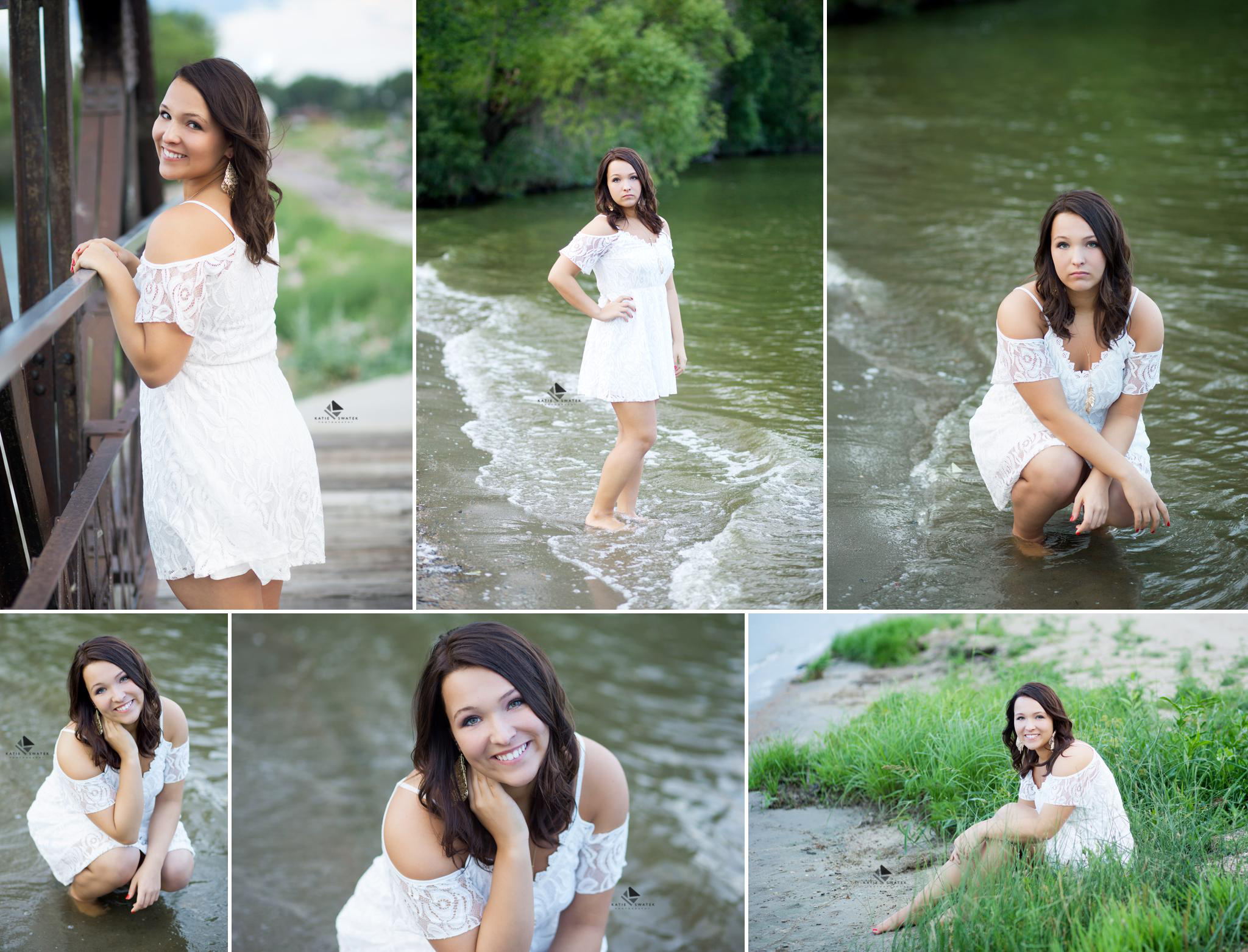 brunette senior girl in a white lace dress standing in the water at Lake Mitchell