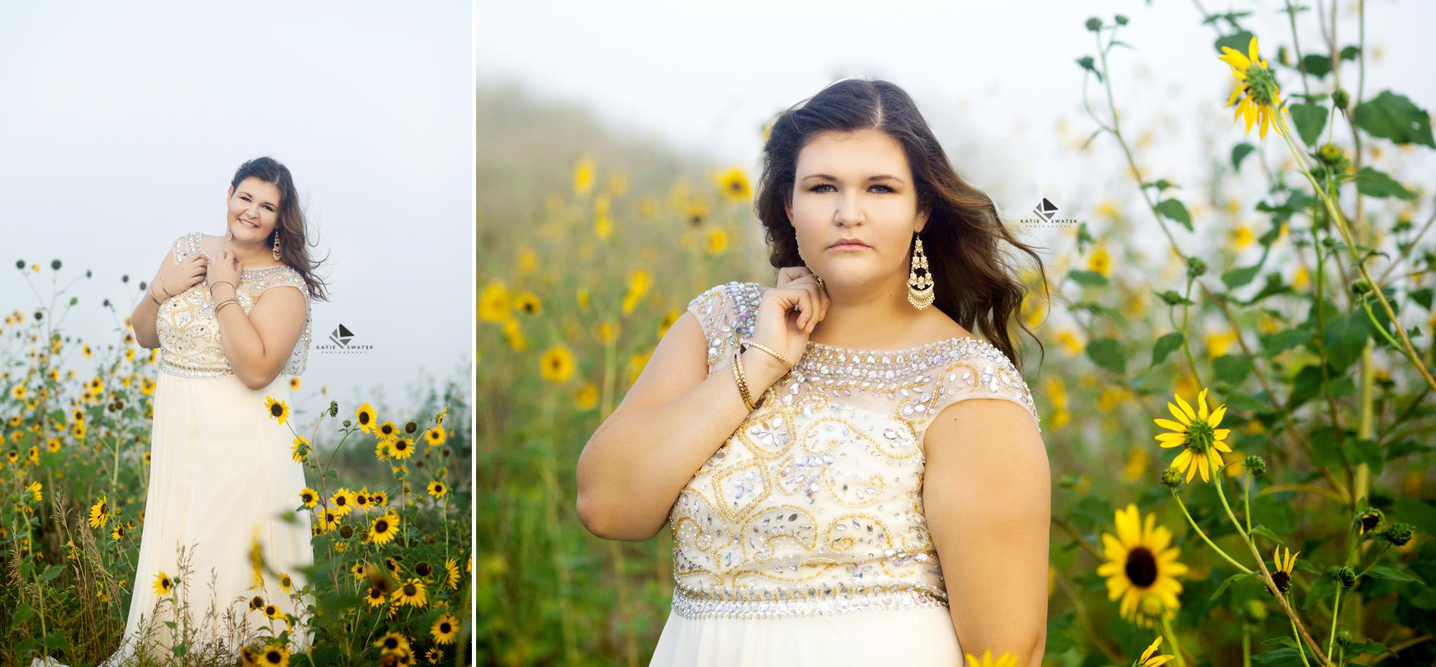 brunette senior girl in an white prom dress standing in a foggy sunflower patch