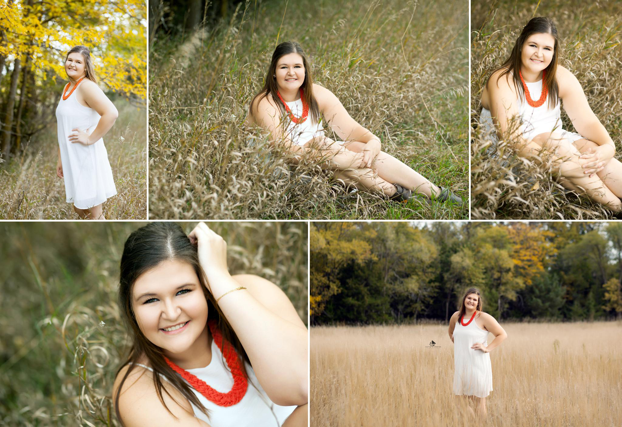 brunette senior girl in a white dress sitting in a fall colored field