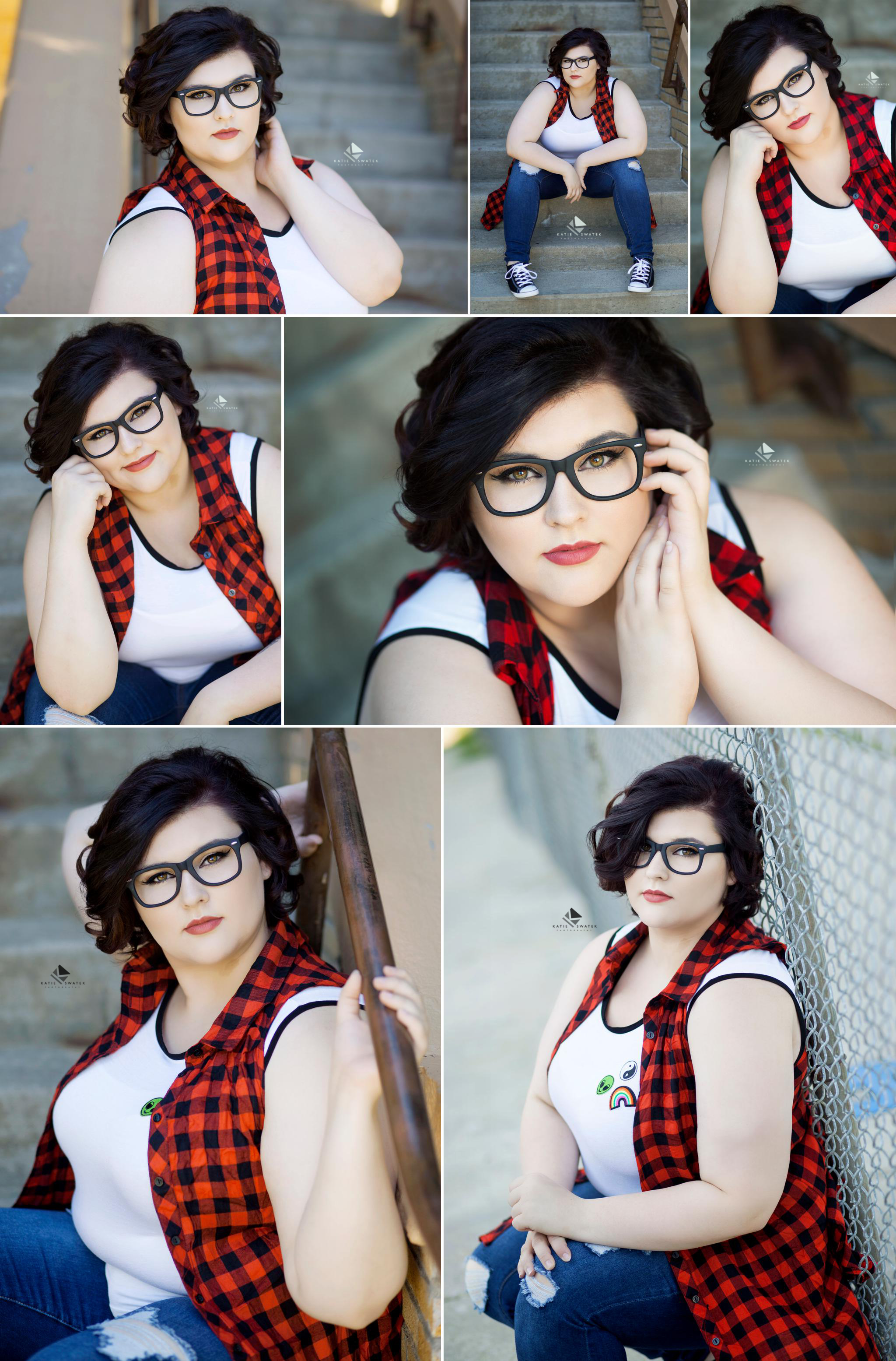 brunette senior girl in a white tank top with a red and black buffalo check kimono