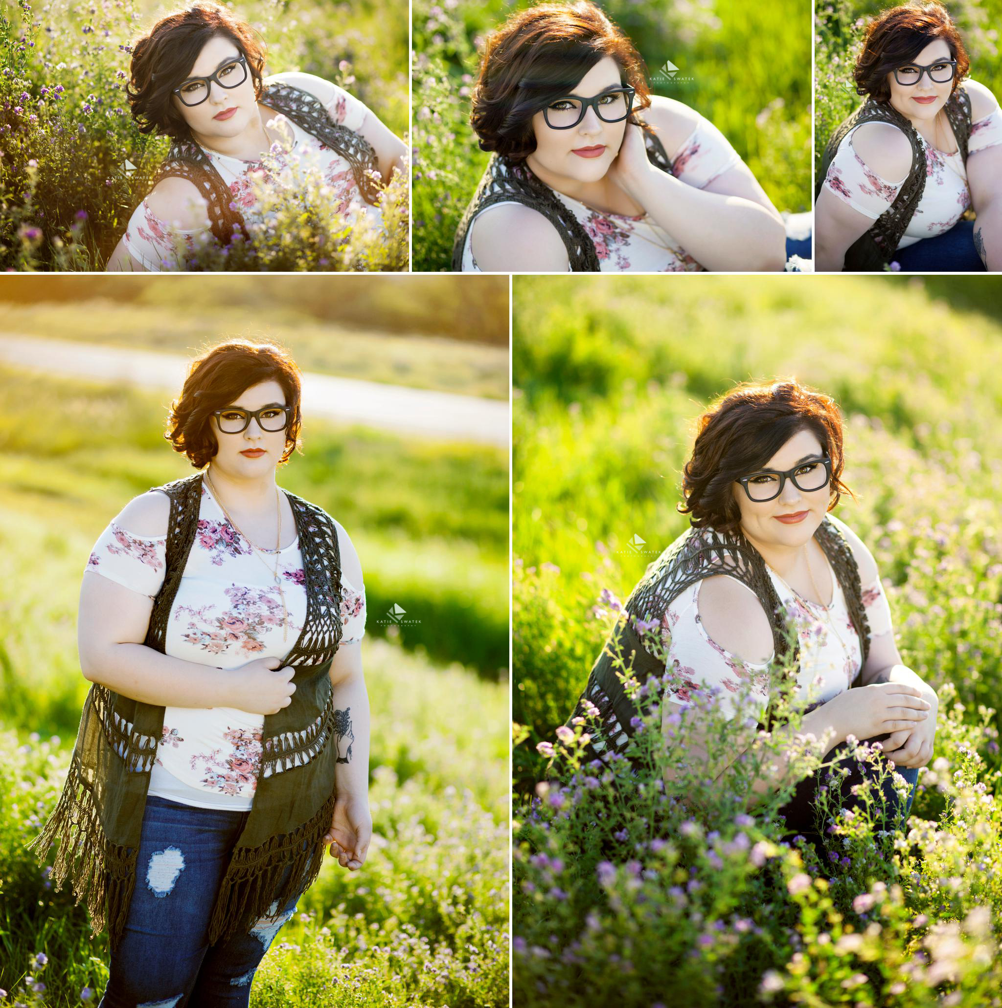 brunette senior girl in glasses in a floral off the shoulder top and a crocheted olive green vest sitting in alfalfa