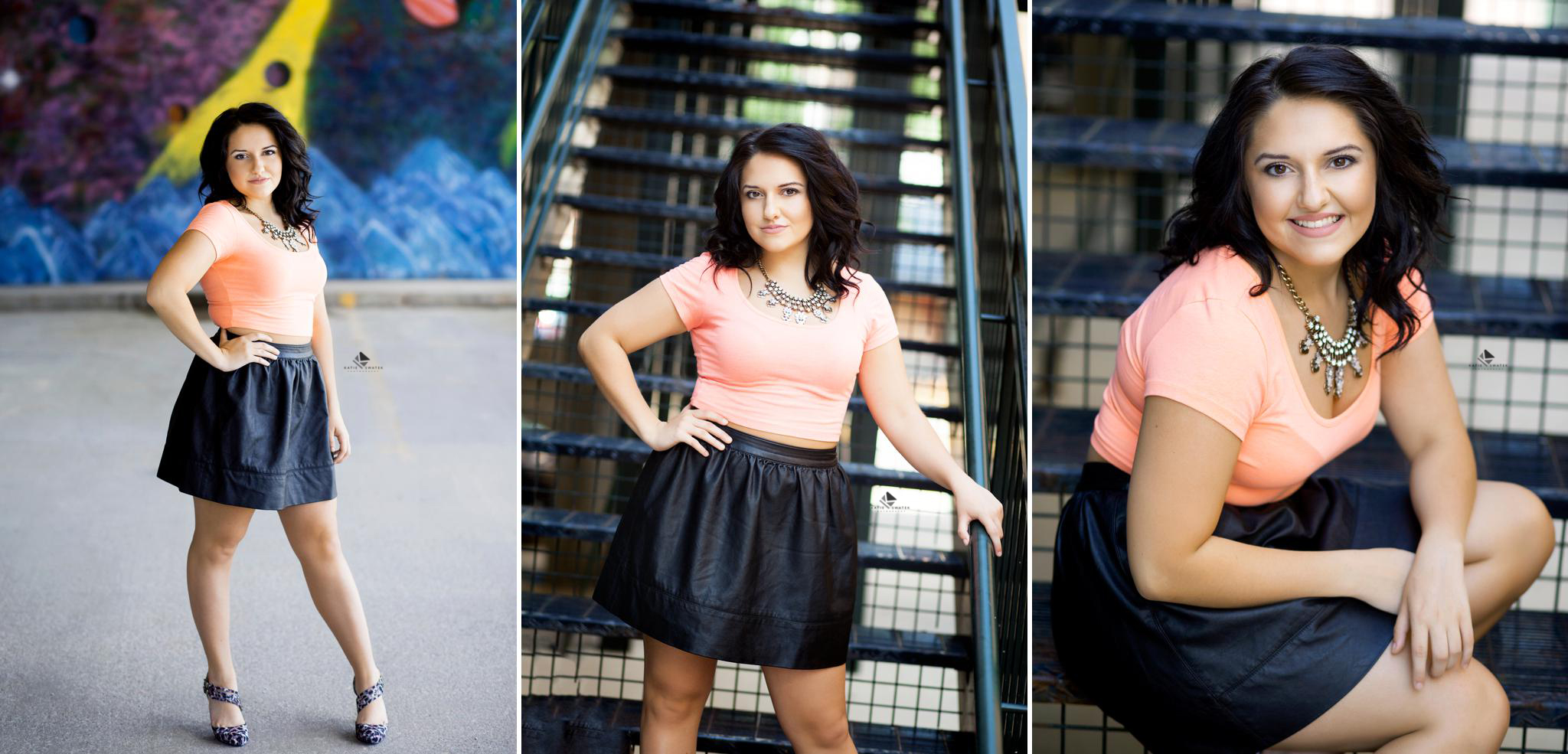 brunette senior girl in a black leather skirt and a hot pink top sitting on a metal staircase and posing in a parking garage in Deadwood South Dakota for senior pictures