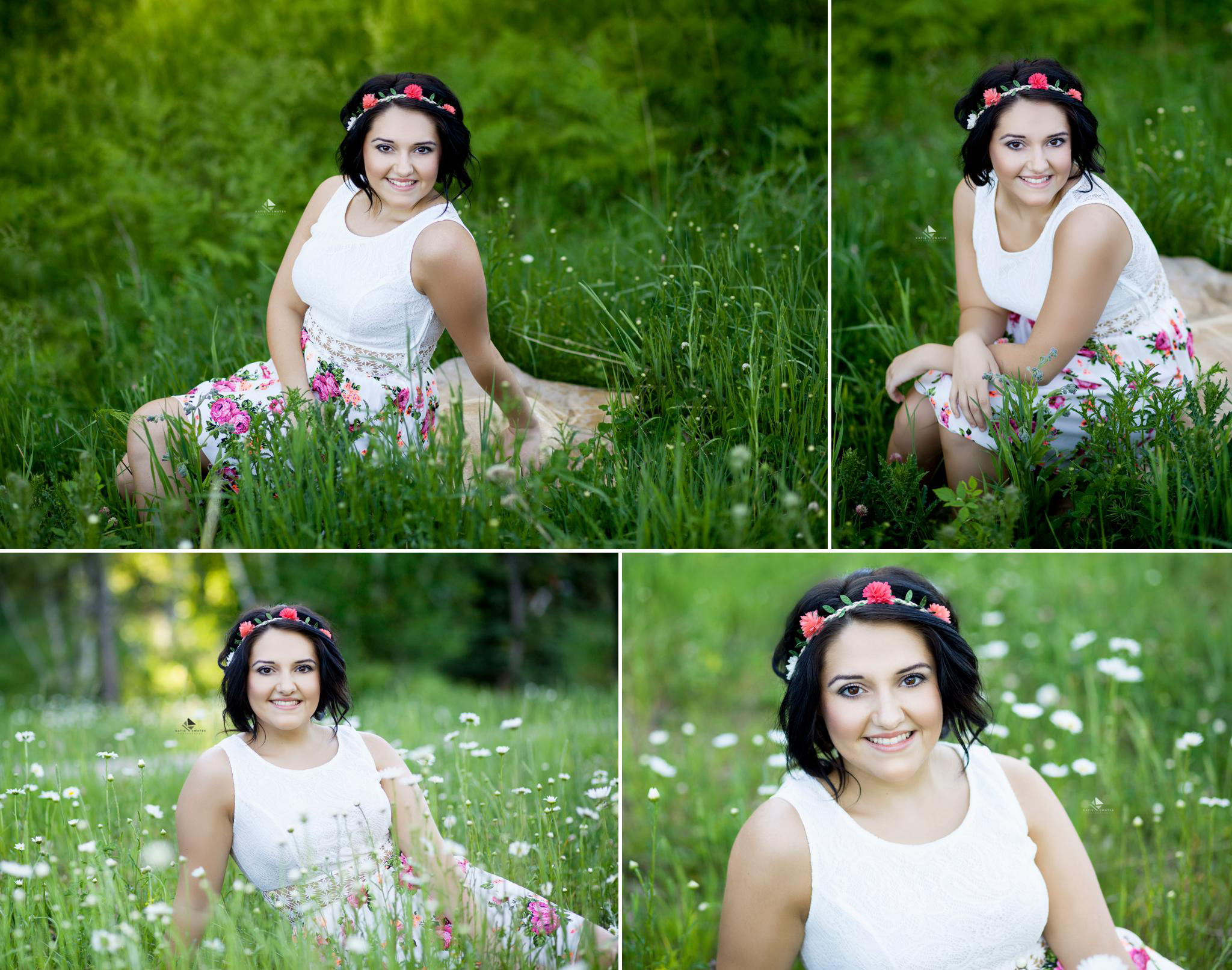 brunette senior girl in a white floral dress with a floral headband sitting in the green grass and wildflowers in Deadwood SD