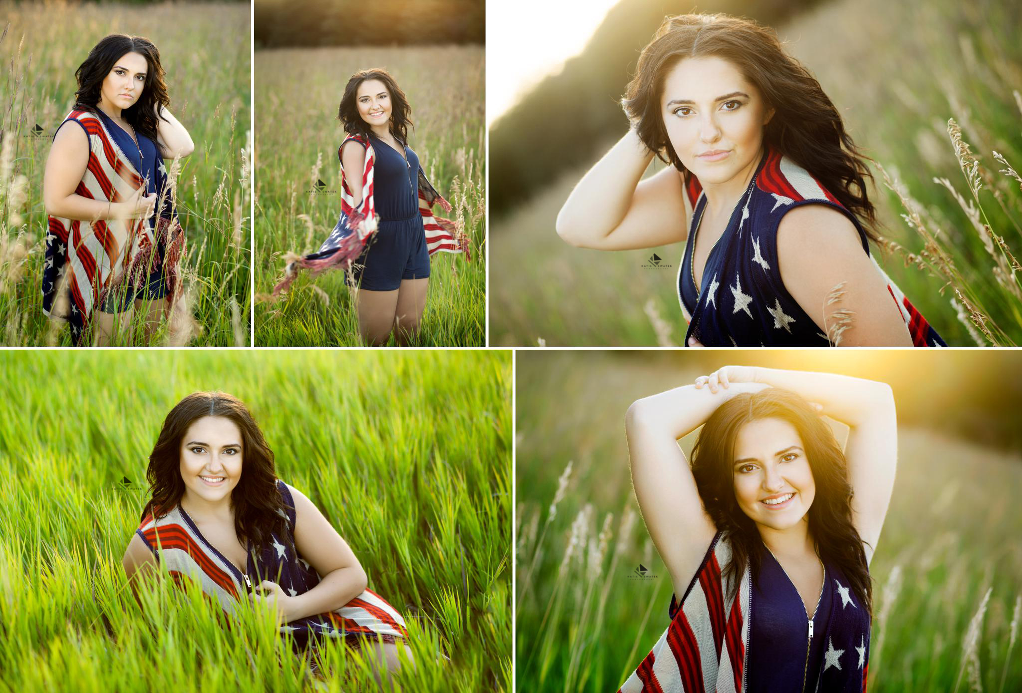 brunette senior girl in a blue romper with an American flag long crocheted vest sitting and standing in a tall grass field