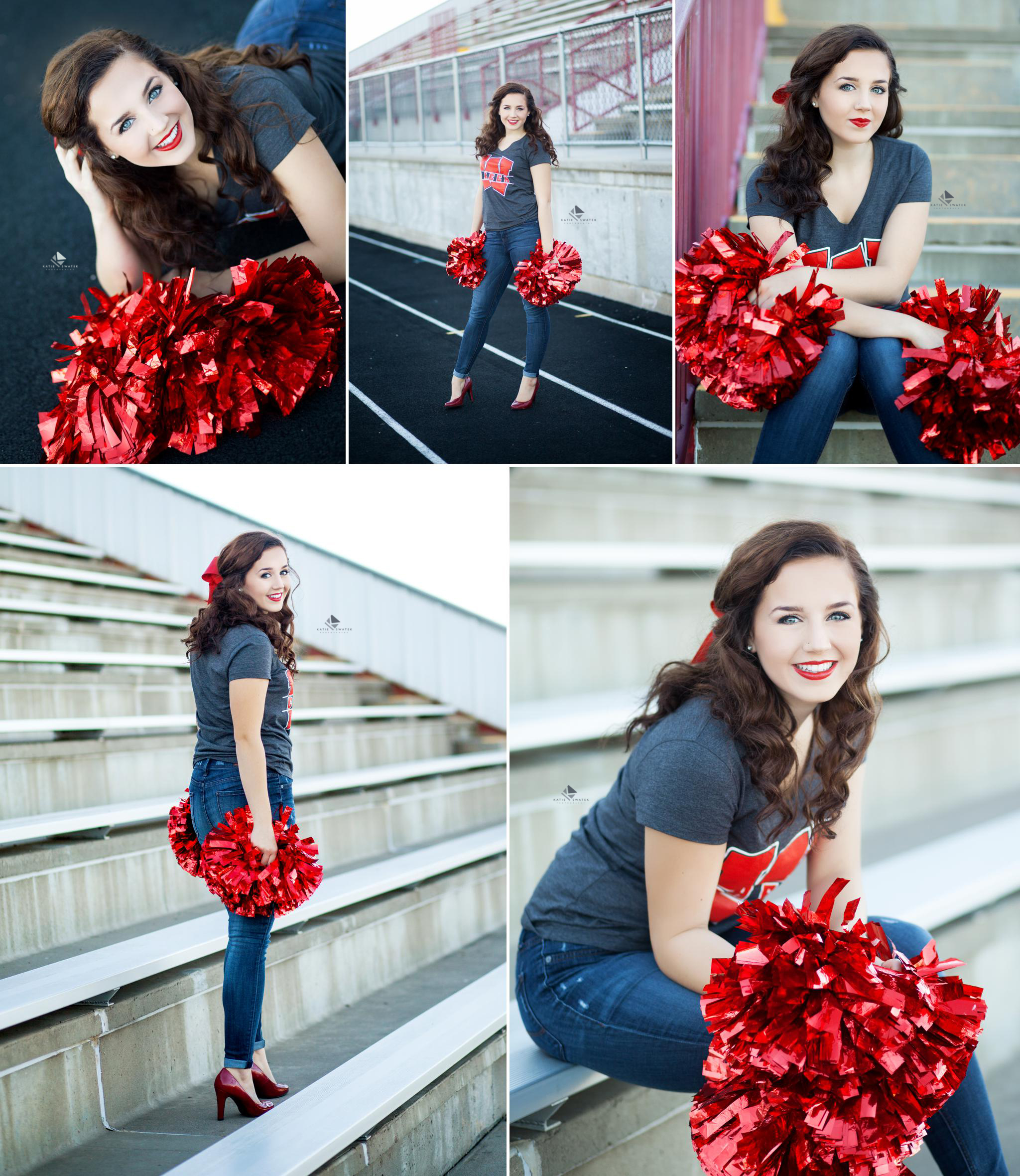brunette senior girl in a pair of jeans and a cheer shirt sitting on the bleachers with red pom poms and red high heels