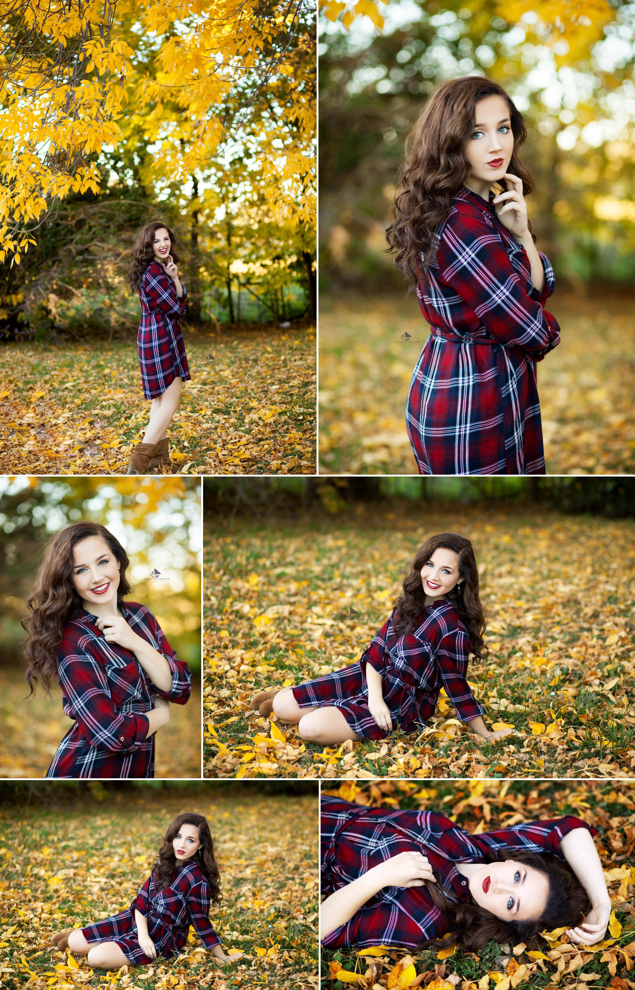 brunette senior girl in  burgundy blue and white plaid dress standing in the yellow foliage of fall in South Dakota