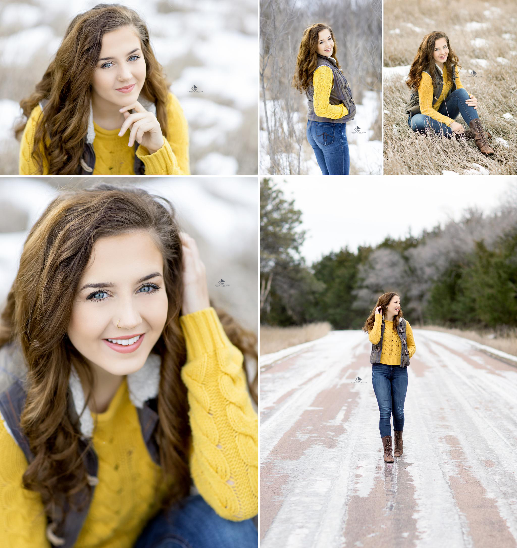 brunette senior girl in a mustard colored sweater and brown vest sitting in a dead field filled with snow for senior pictures
