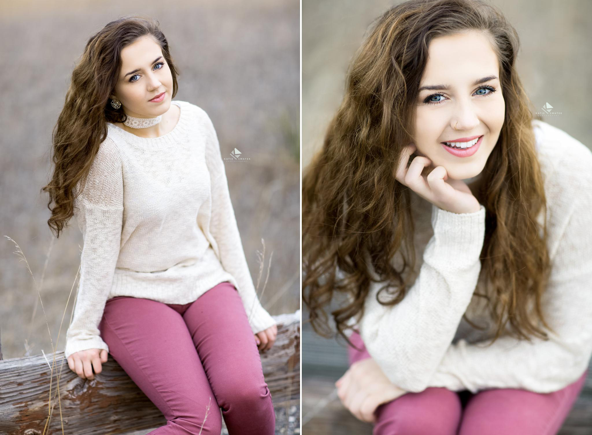 brunette senior girl in a cream colored sweater and mauve jeans sitting on a wood parking lot divider in the winter in South Dakota