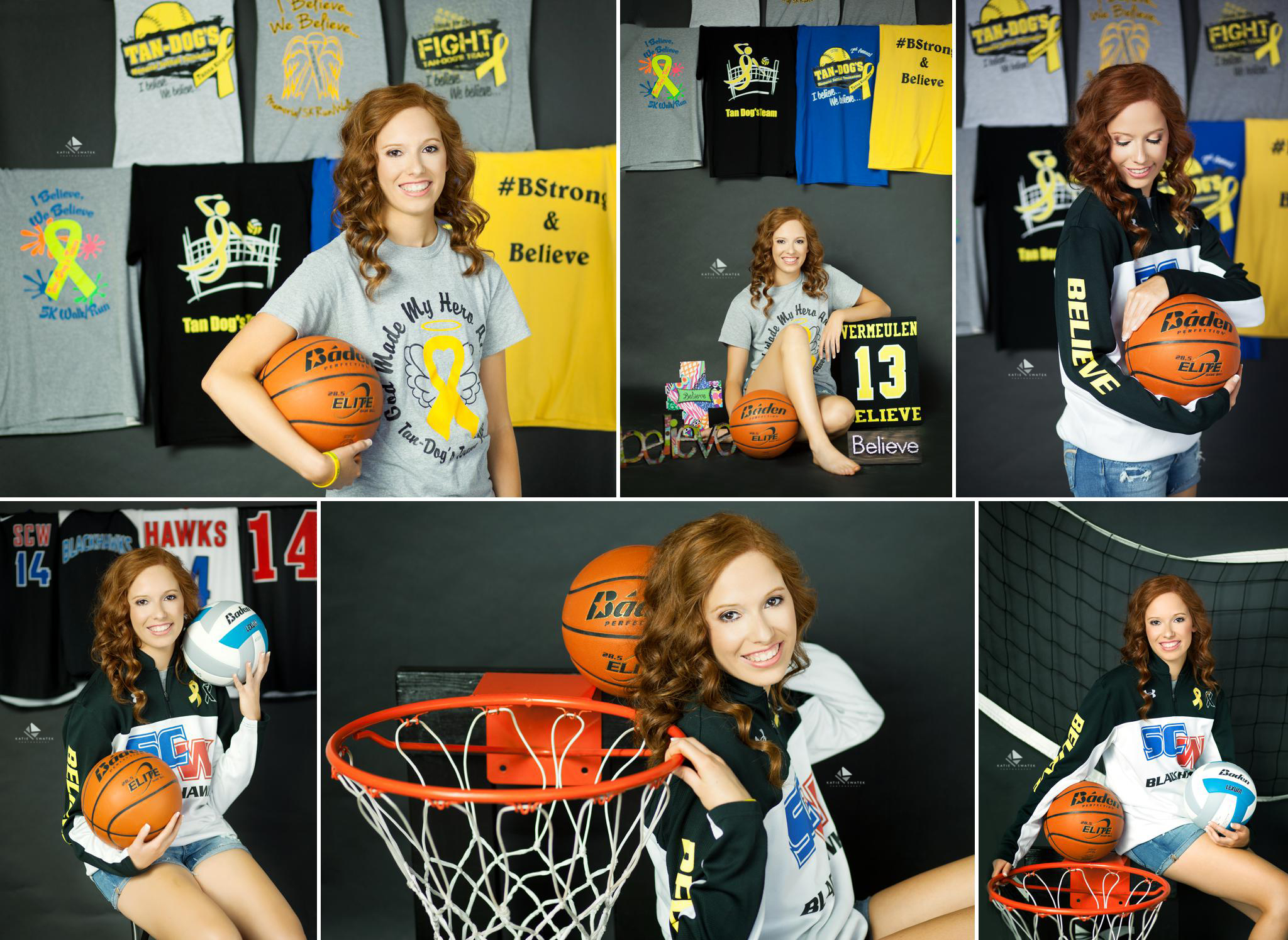 red headed senior girl in a basketball warm up posing for senior pictures in front of her basketball t shirts