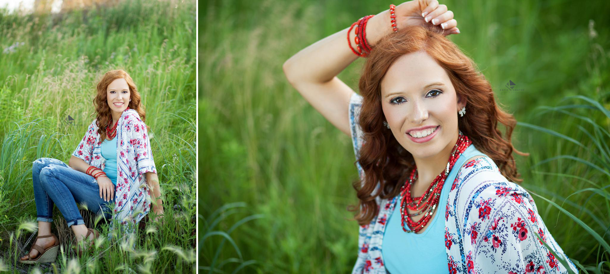red headed senior girl in a floral kimono and jeans posing for senior pictures on a log and in green grass
