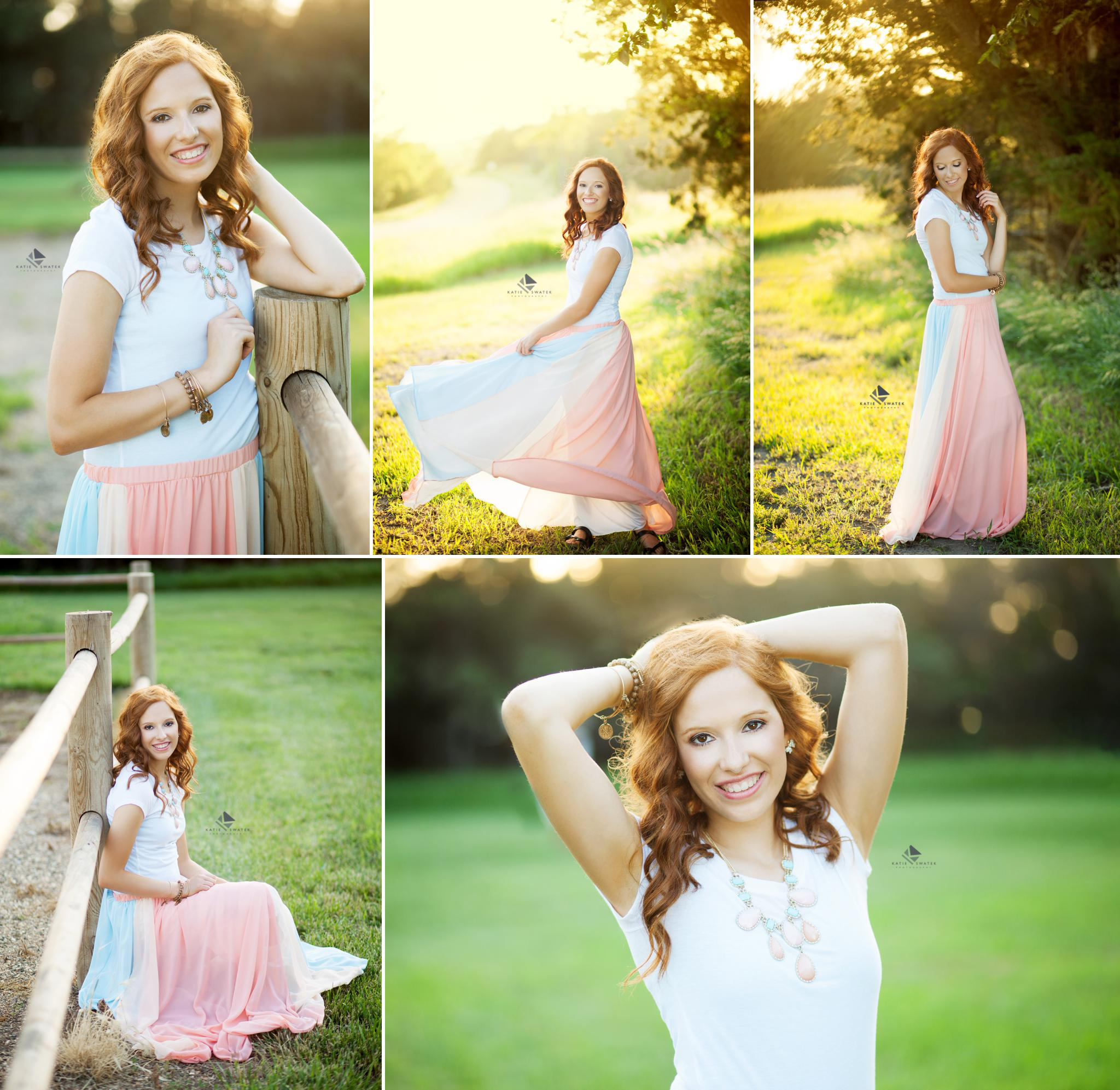 red headed senior girl in a white t shirt and a flowy cotton candy colored skirt posing for senior pictures at a blonde colored fence and in the green grass