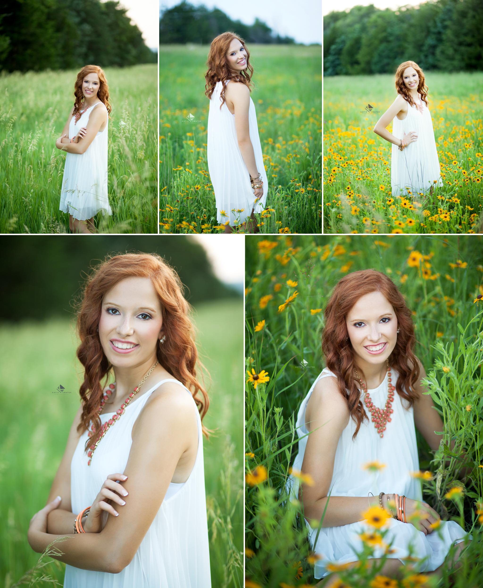 red headed senior girl in a white dress and coral necklace posing for senior pictures in a yellow wildflower patch