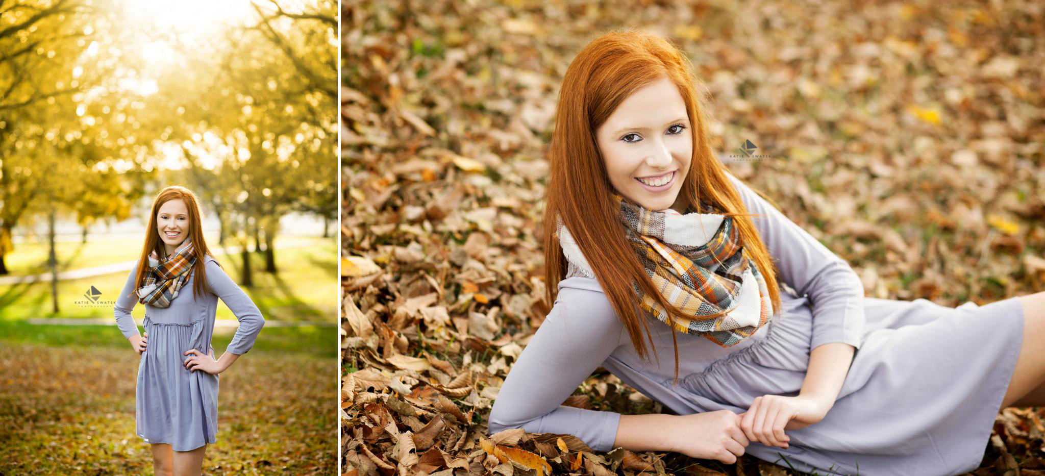 red headed senior girl in a gray sweater dress and plaid scarf posing in the fall foliage in south dakota