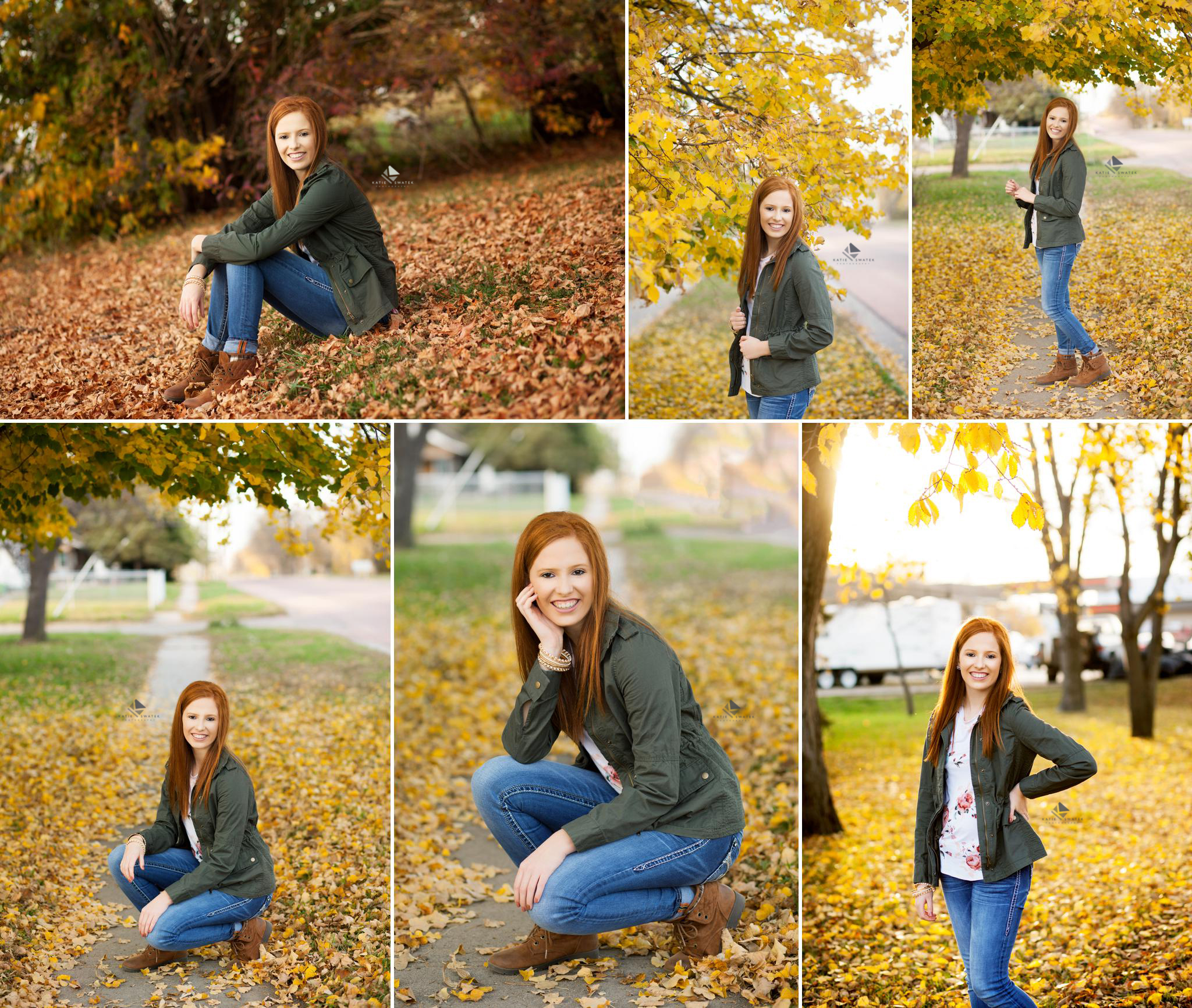 red headed senior girl in an olive jacket and jeans posing next to yellow foliage in the fall of South Dakota
