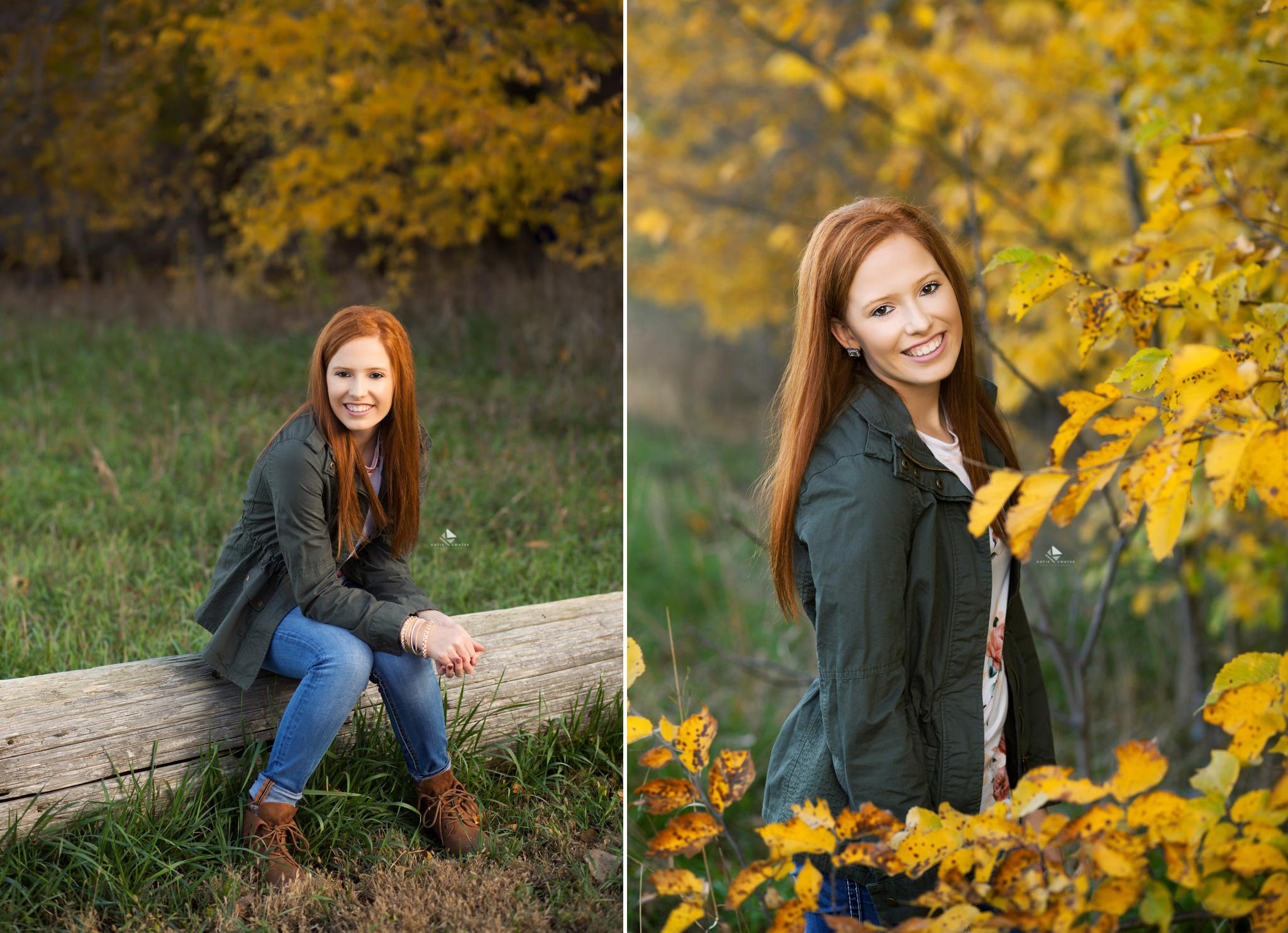 red headed senior girl in an olive jacket and jeans sitting on a log next to yellow fall foliage in the fall of South Dakota