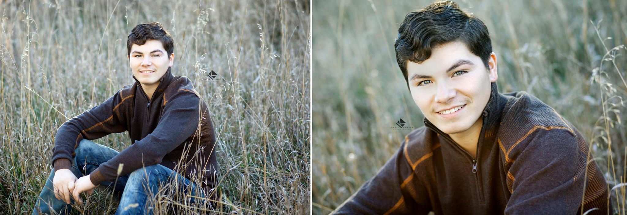 black haired senior guy in a brown sweater sitting in tall brome grass