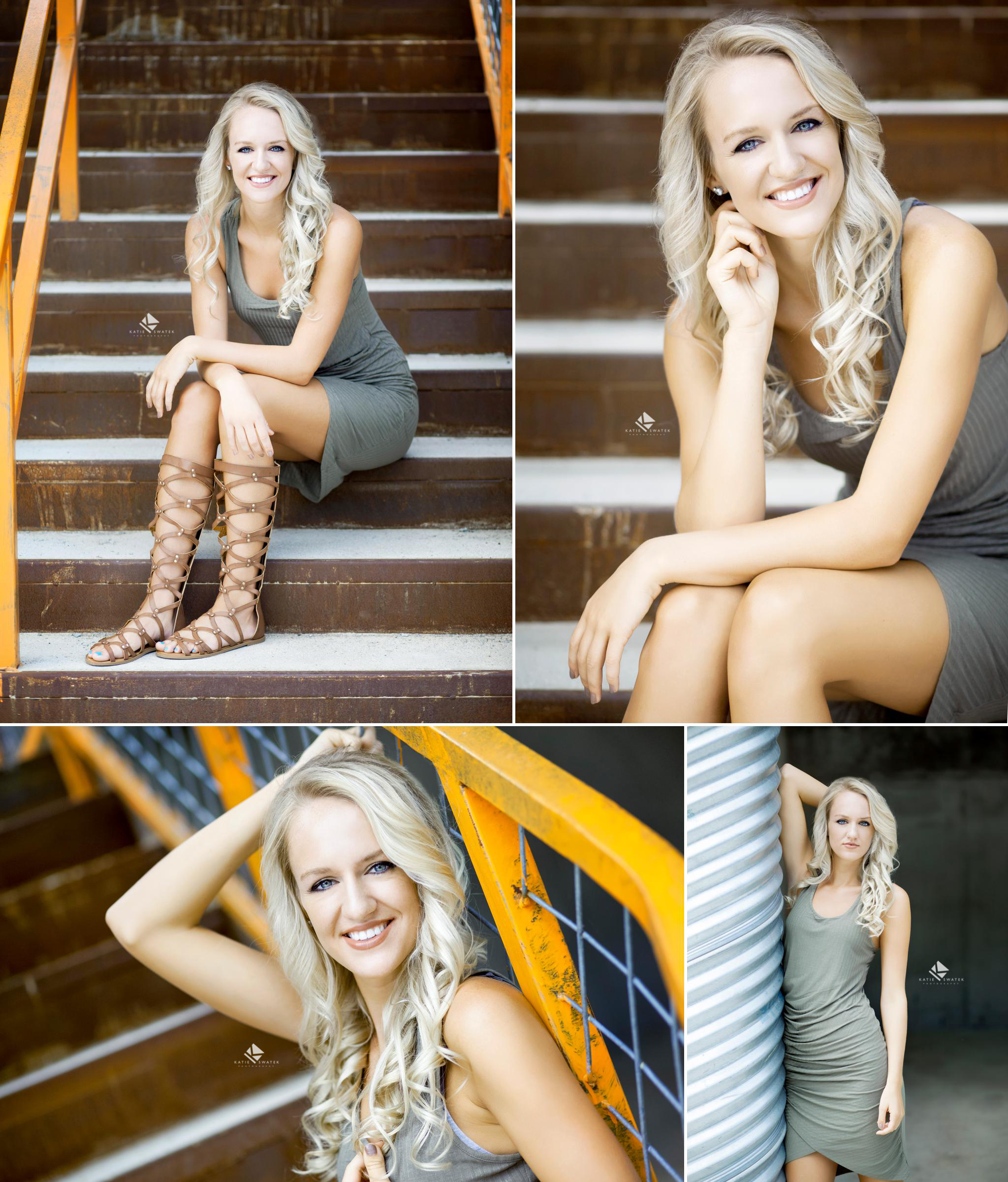 blonde senior girl in a sage green dress sitting on a rust and orange staircase in Deadwood SD