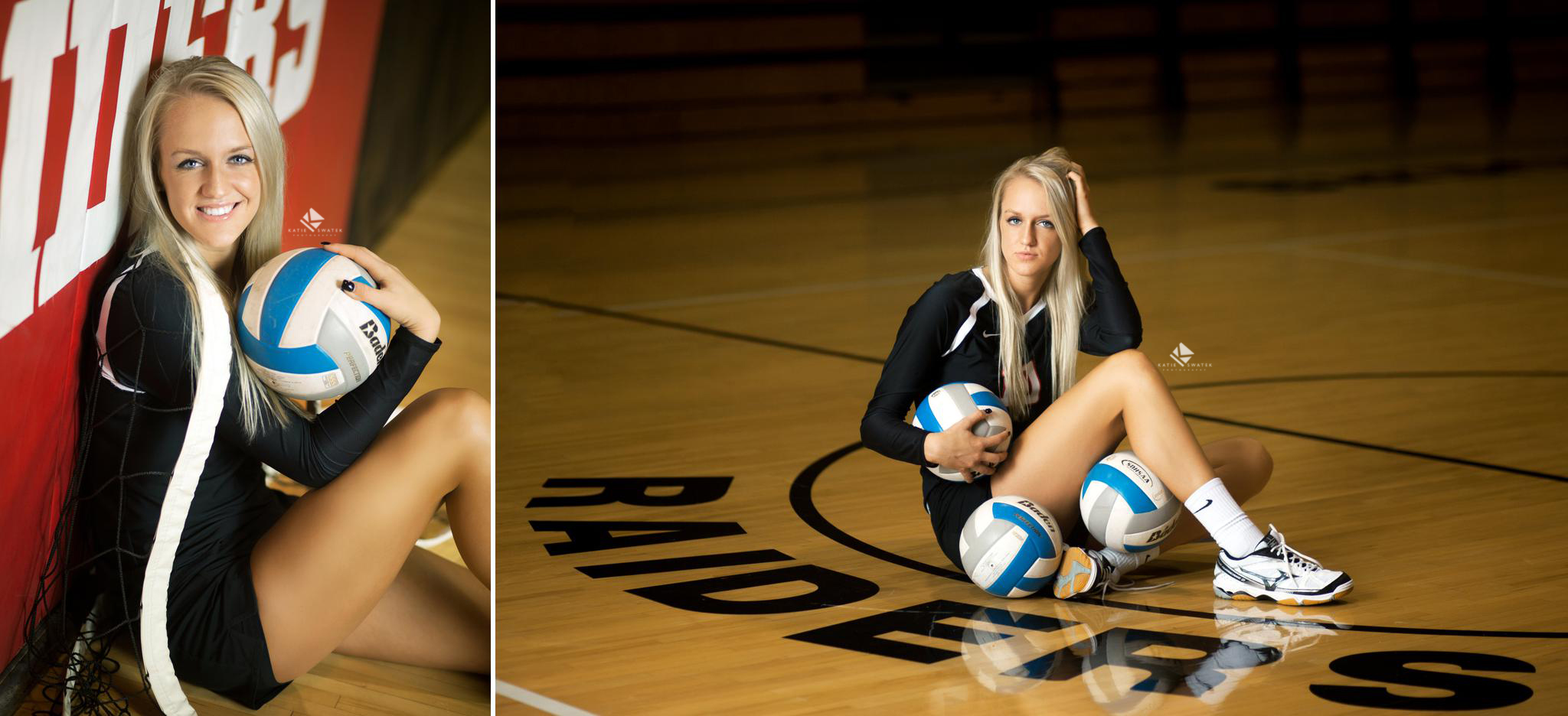 blonde senior girl in a volleyball jersey sitting in her high school gym for sport pictures