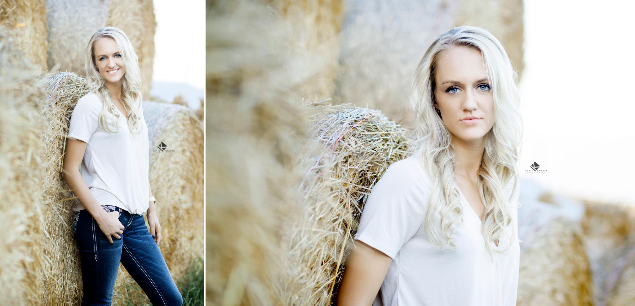 blonde senior girl in a white top and dark denim jeans leaning against a hay bale