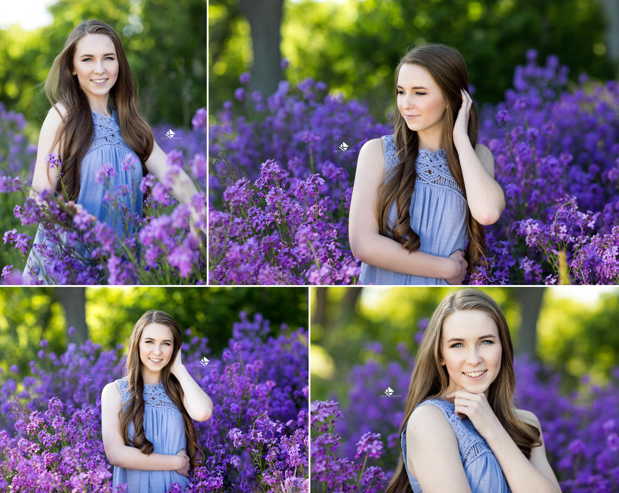 brunette senior girl with long hair in a light blue dress standing in a field of bright purple flowers