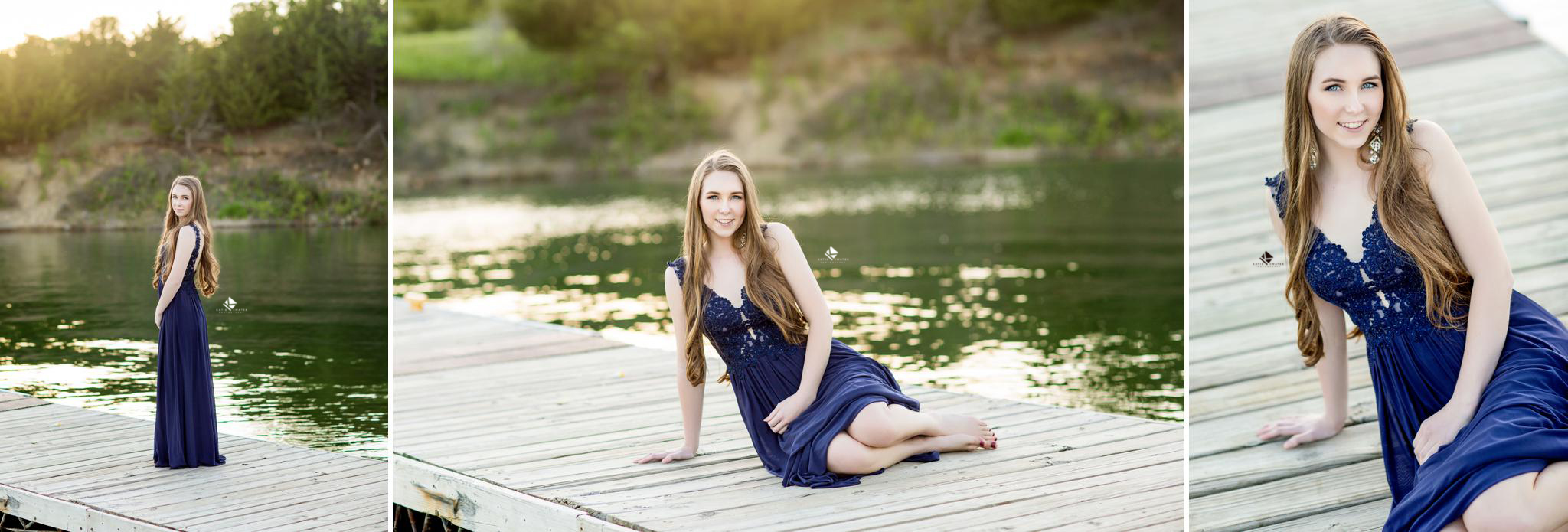 brunette senior girl in a navy lacy prom dress posing for senior pictures on a dock in South Dakota by Katie Swatek Photography