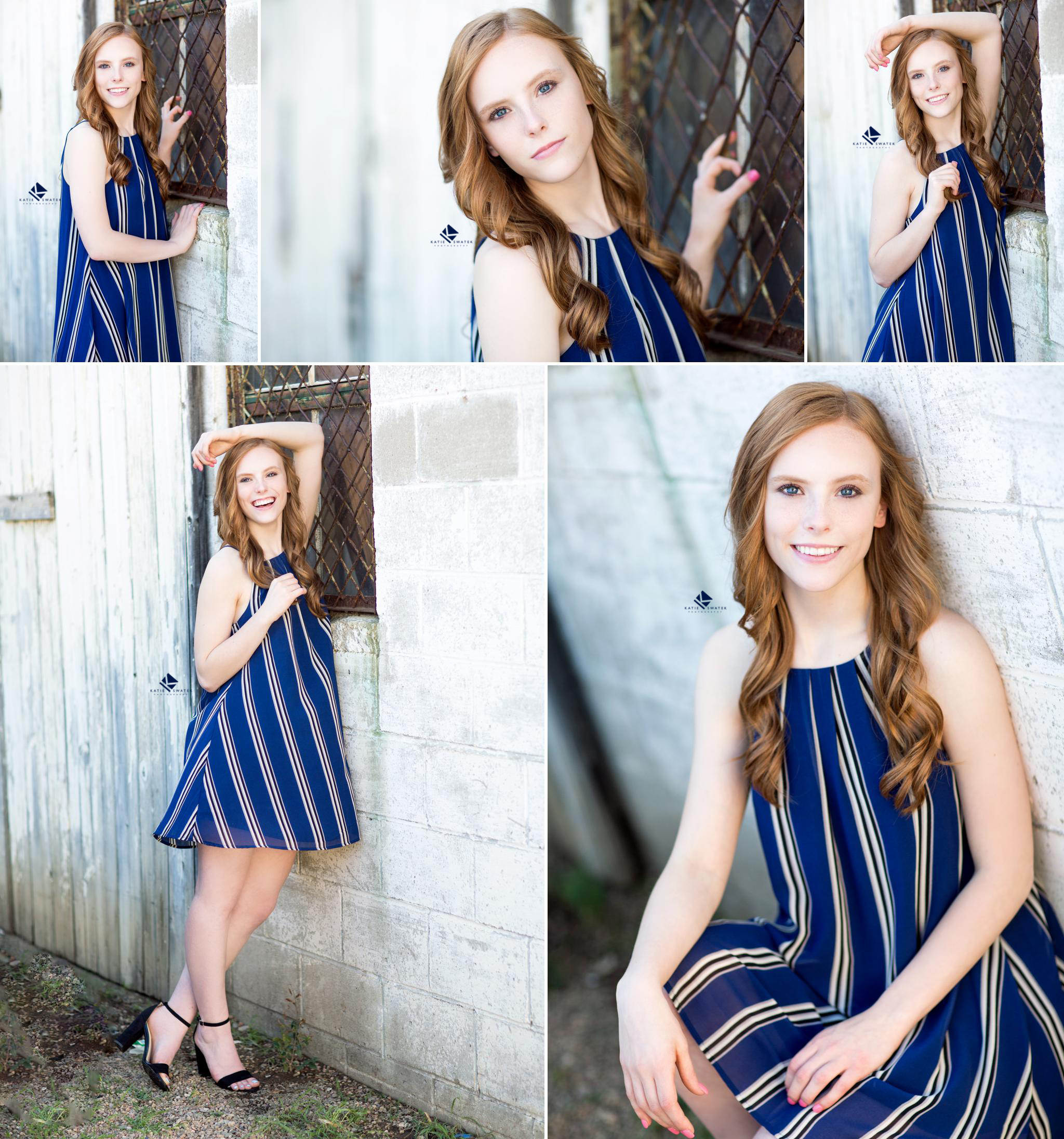Red headed senior in a cobalt blue and white striped dress leaning against a white washed barn wall and a white cement wall