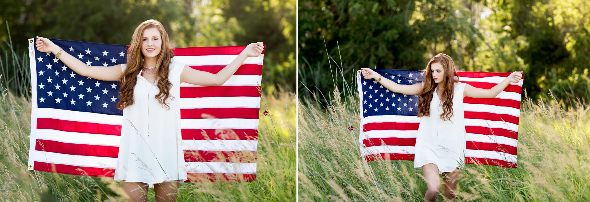 red headed senior in a white dress with a thin silver necklace standing in front of an American flag in a field of tall green grass