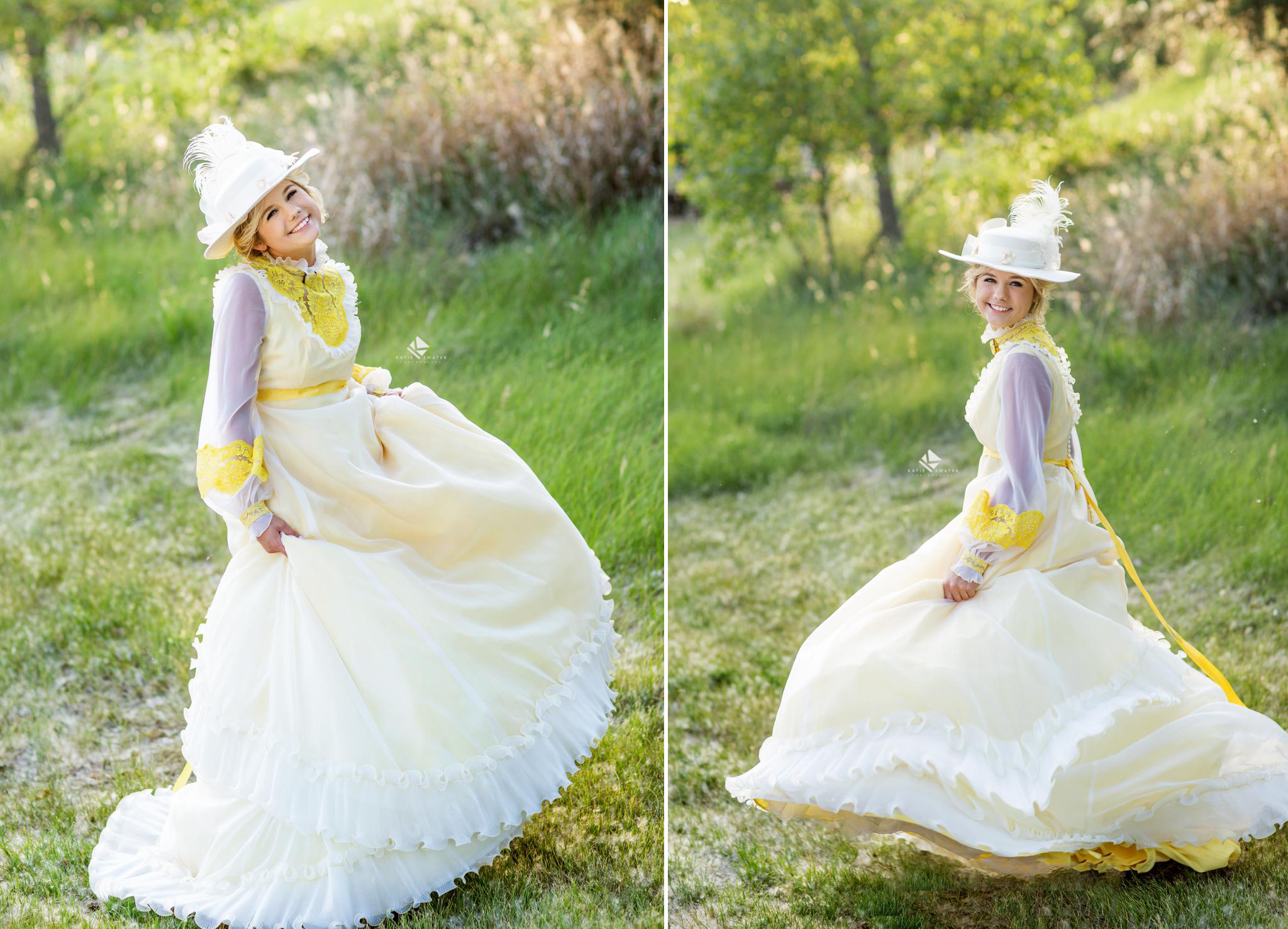 blonde senior girl in a gone with the wind costume dressed up for senior pictures in a grassy area