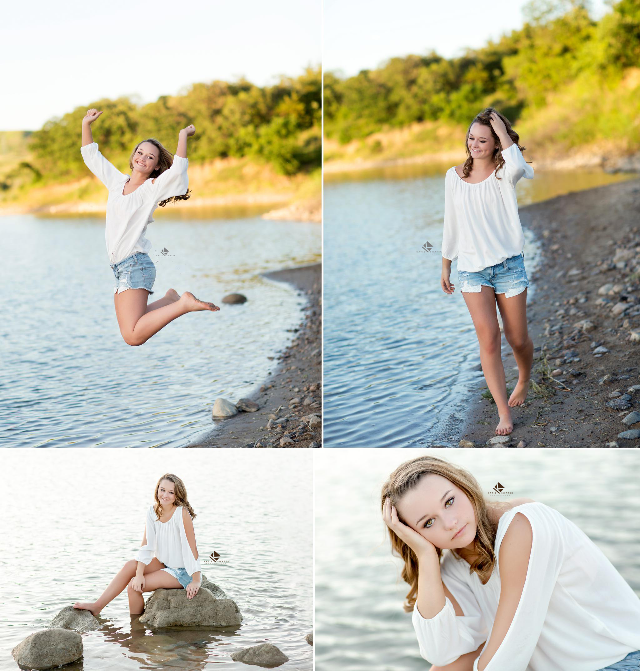 brunette senior girl in a white off the shoulder top and short denim jeans walking along the beach and sitting on rocks in the water