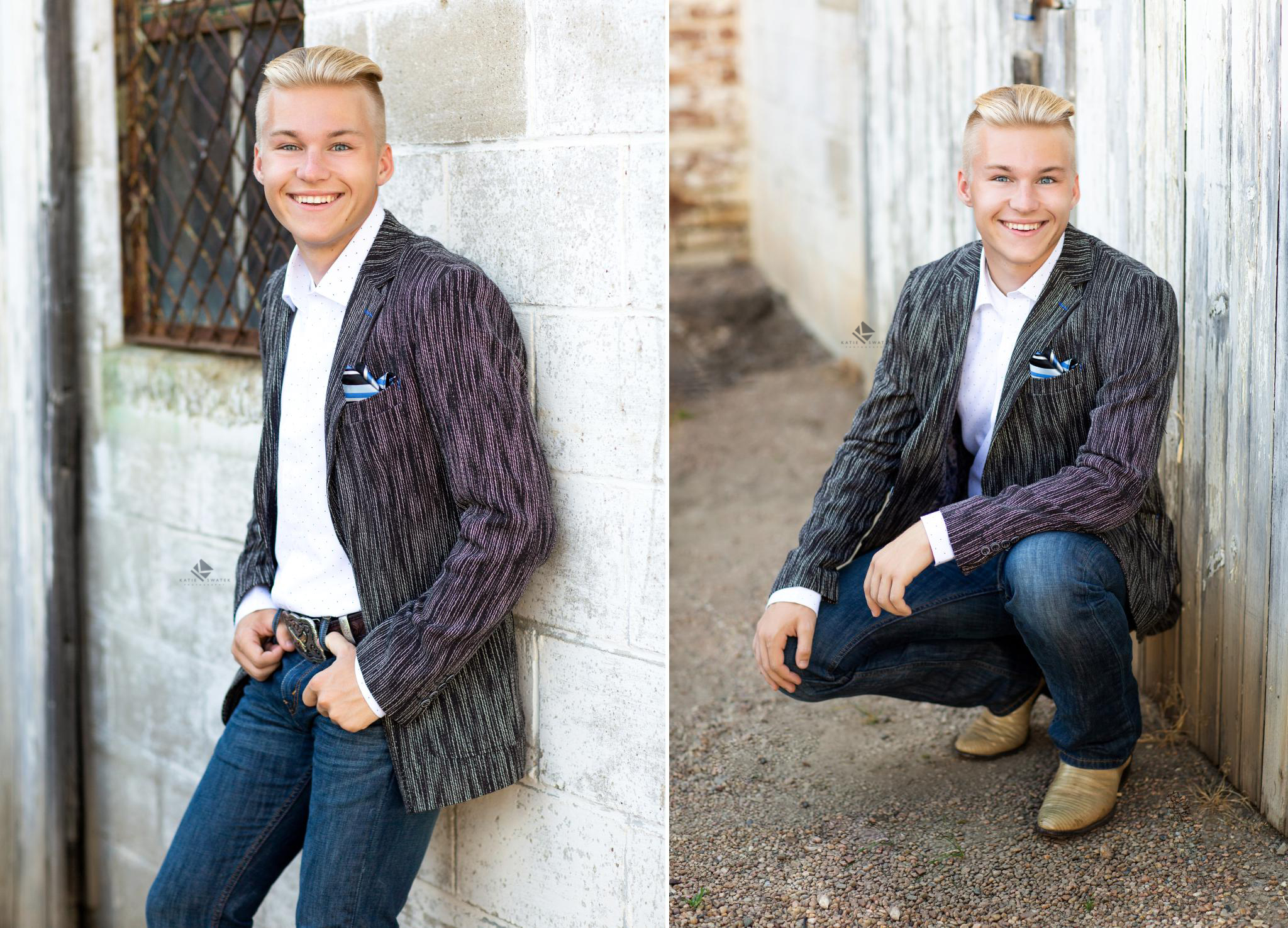 blonde senior boy in fitted gray jacket but chipped white wall