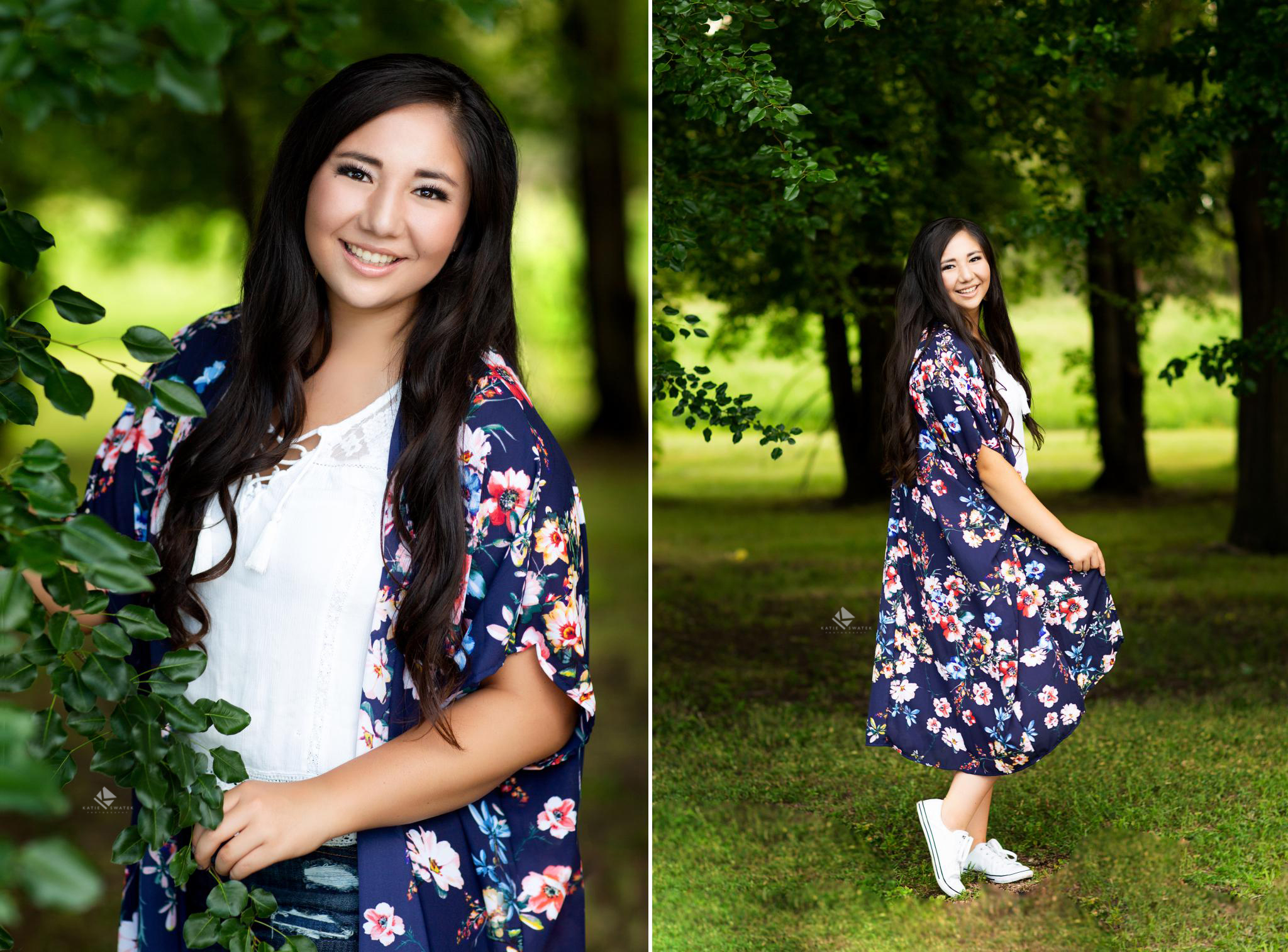 brunette senior girl in a floral kimono twirling in green trees