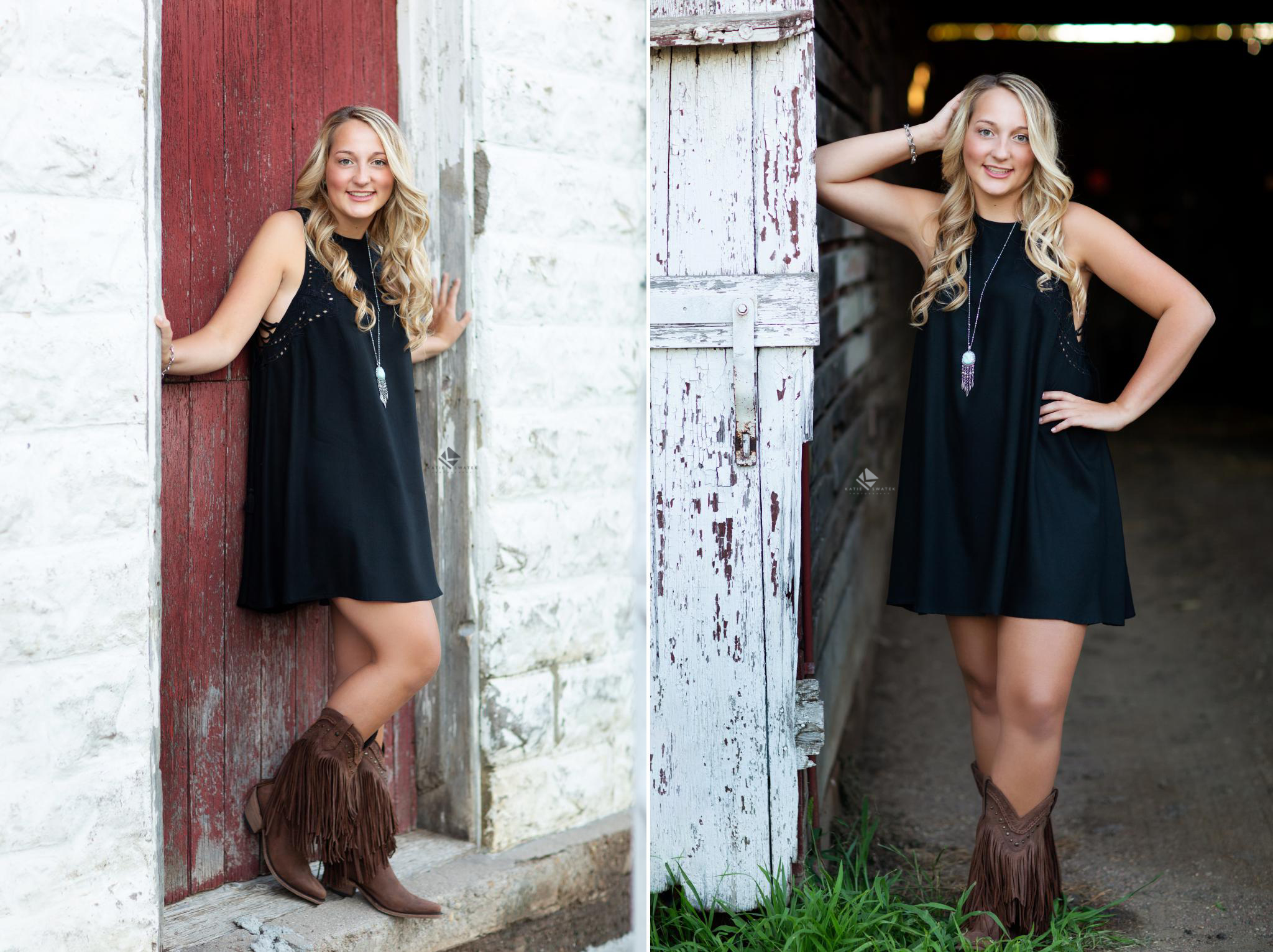 blonde senior girl in black shirt dress and brown fringe boots