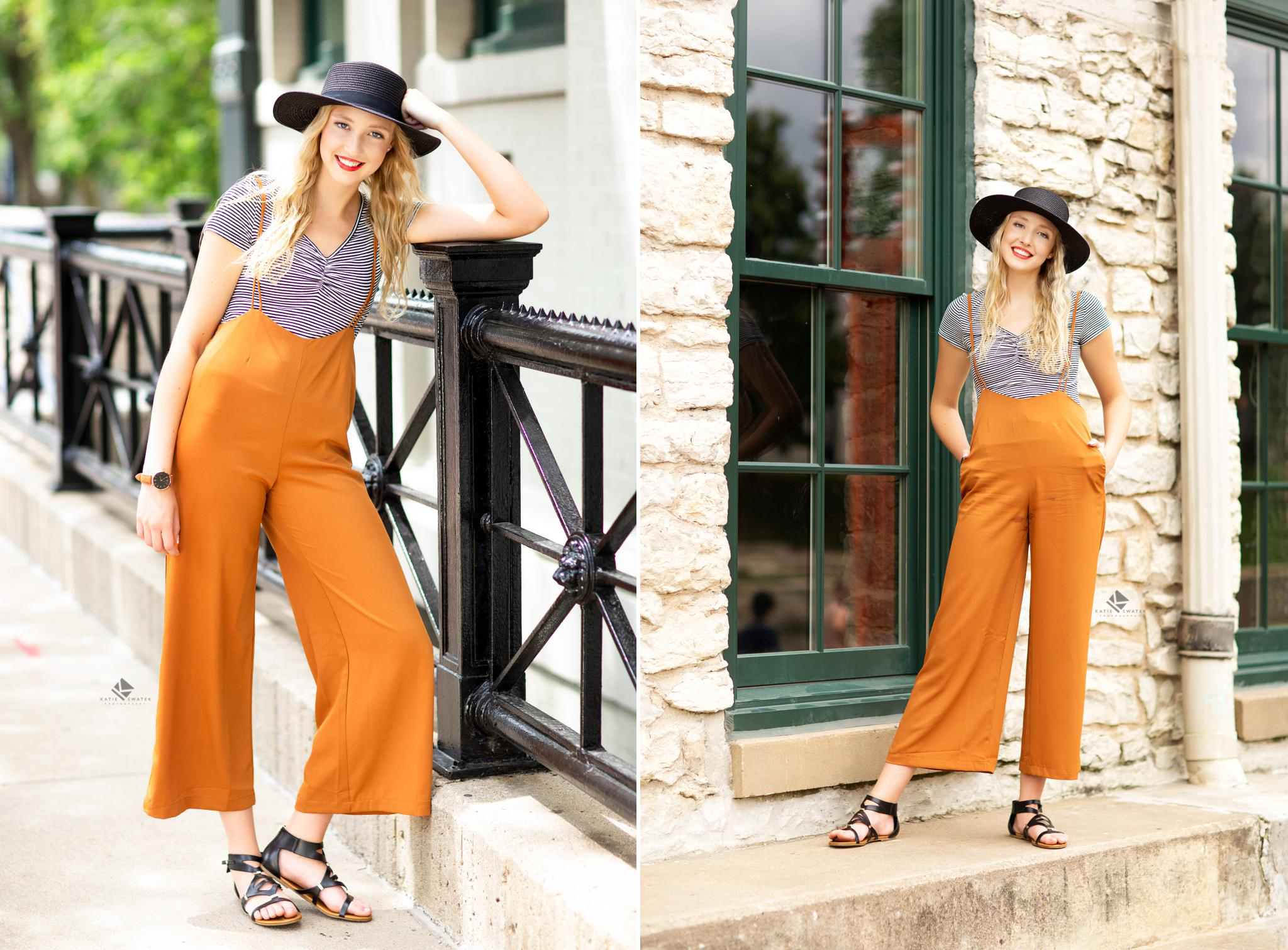blonde senior in a black sun hat and yellow jumper overalls posing in an urban setting in Omaha Nebraska