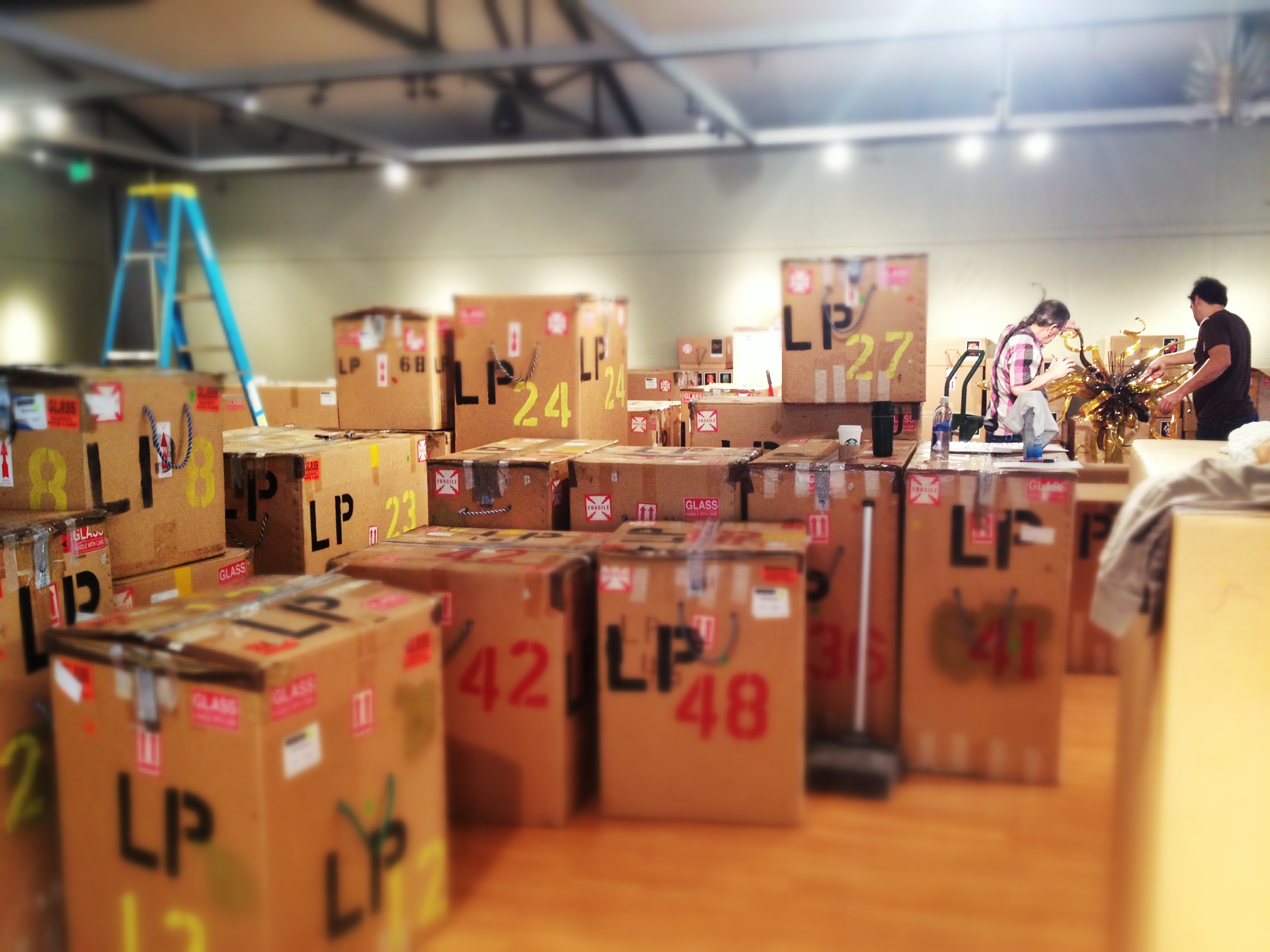 Denny Park unloading boxes for the Chihuly Exhibition at the Kimball   Art Center.