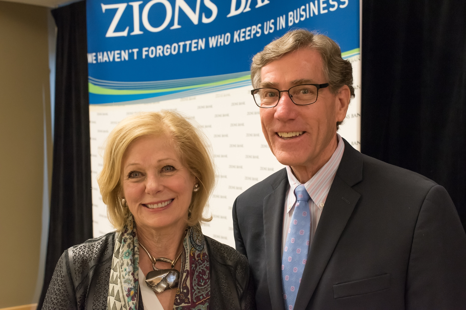 Susan with Scott Anderson, CEO of Zions Bank and major patron of the arts.jpg