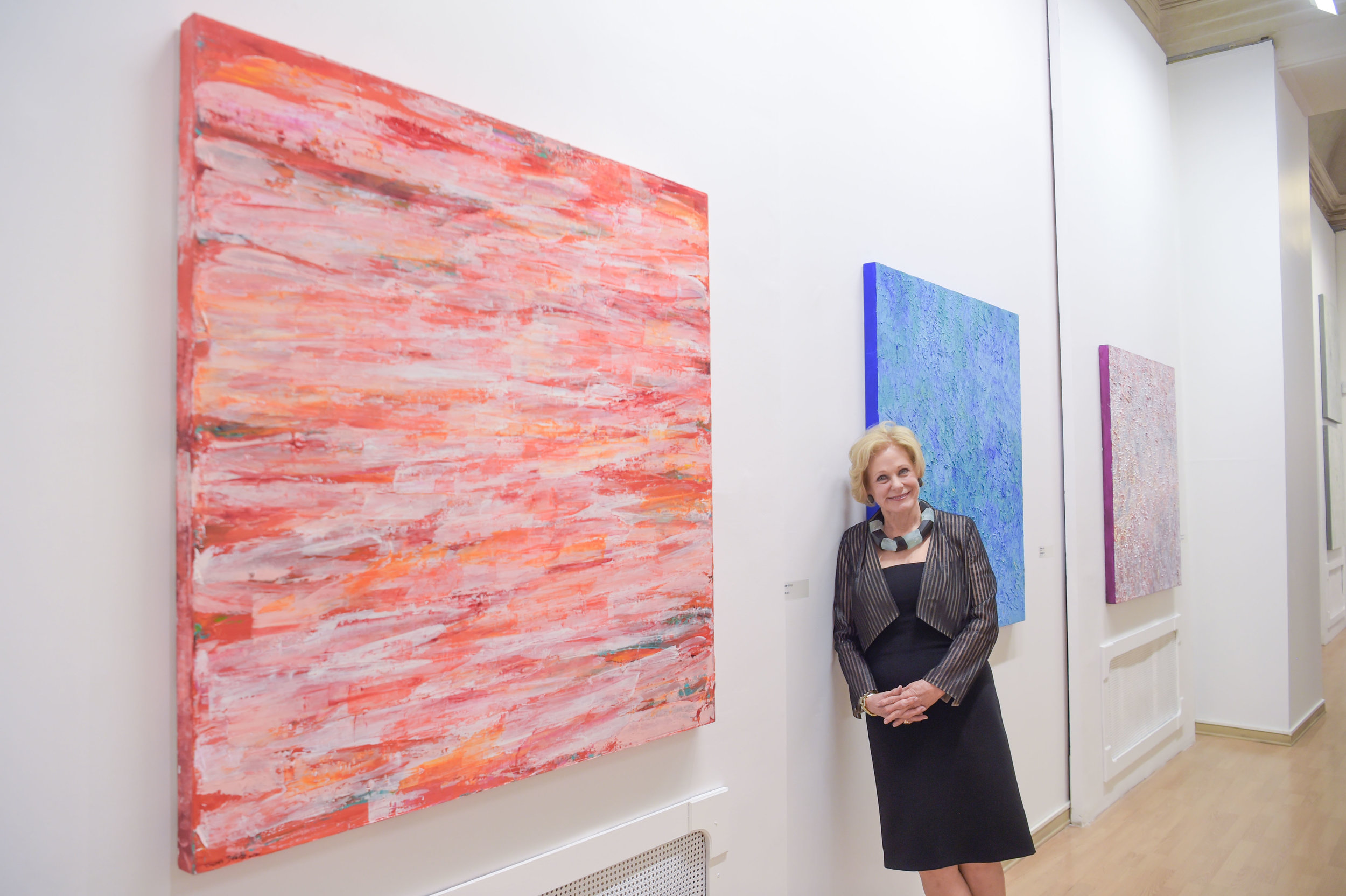 Artist Susan Swartz in front of her artwork at the Ludwig Museum at the State Russian Museum