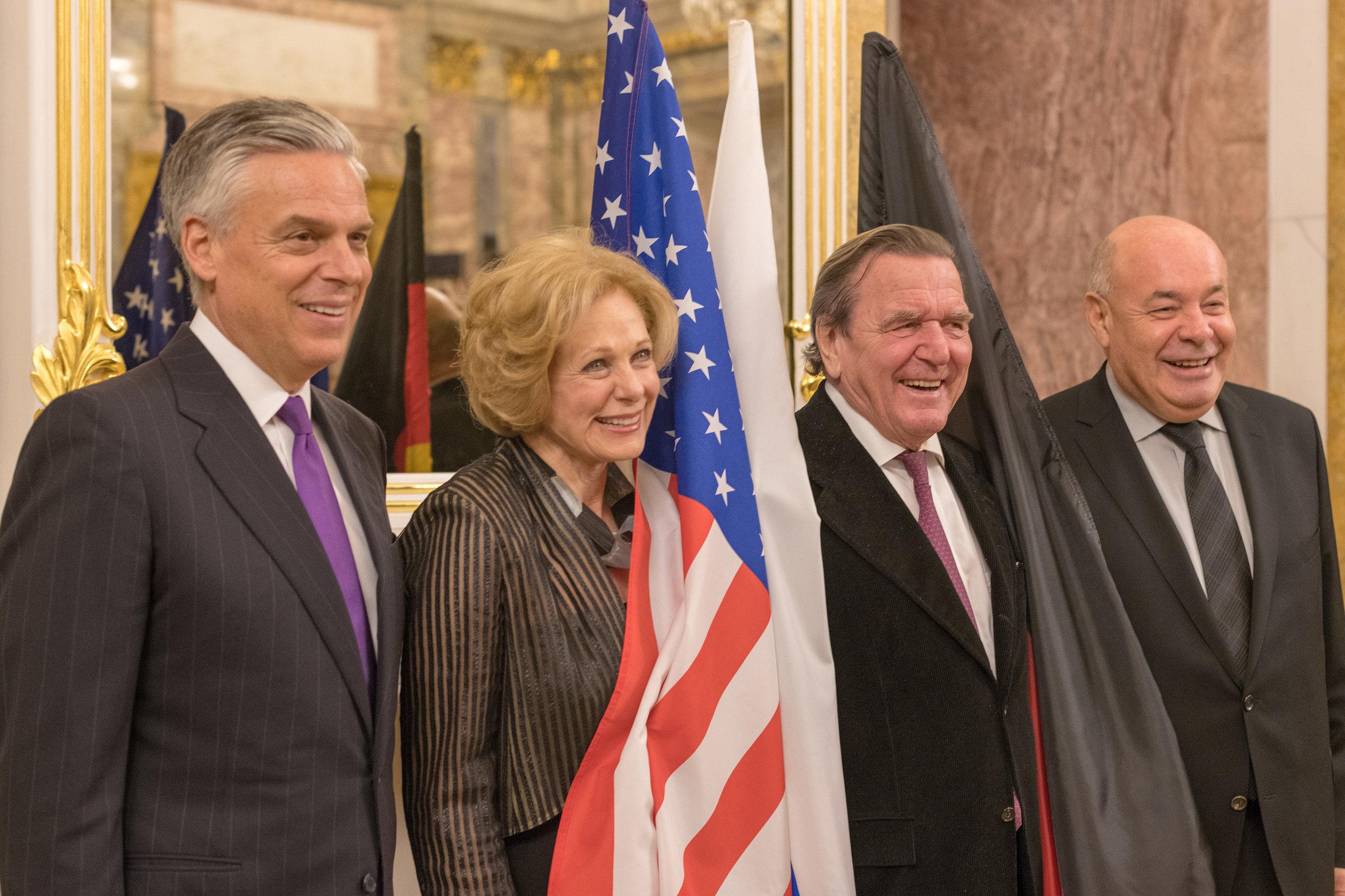 Ambassador Jon Huntsman; Susan Swartz;former Chancellor of Germany Gerhard Schröder; Mikhail Shvydkoy