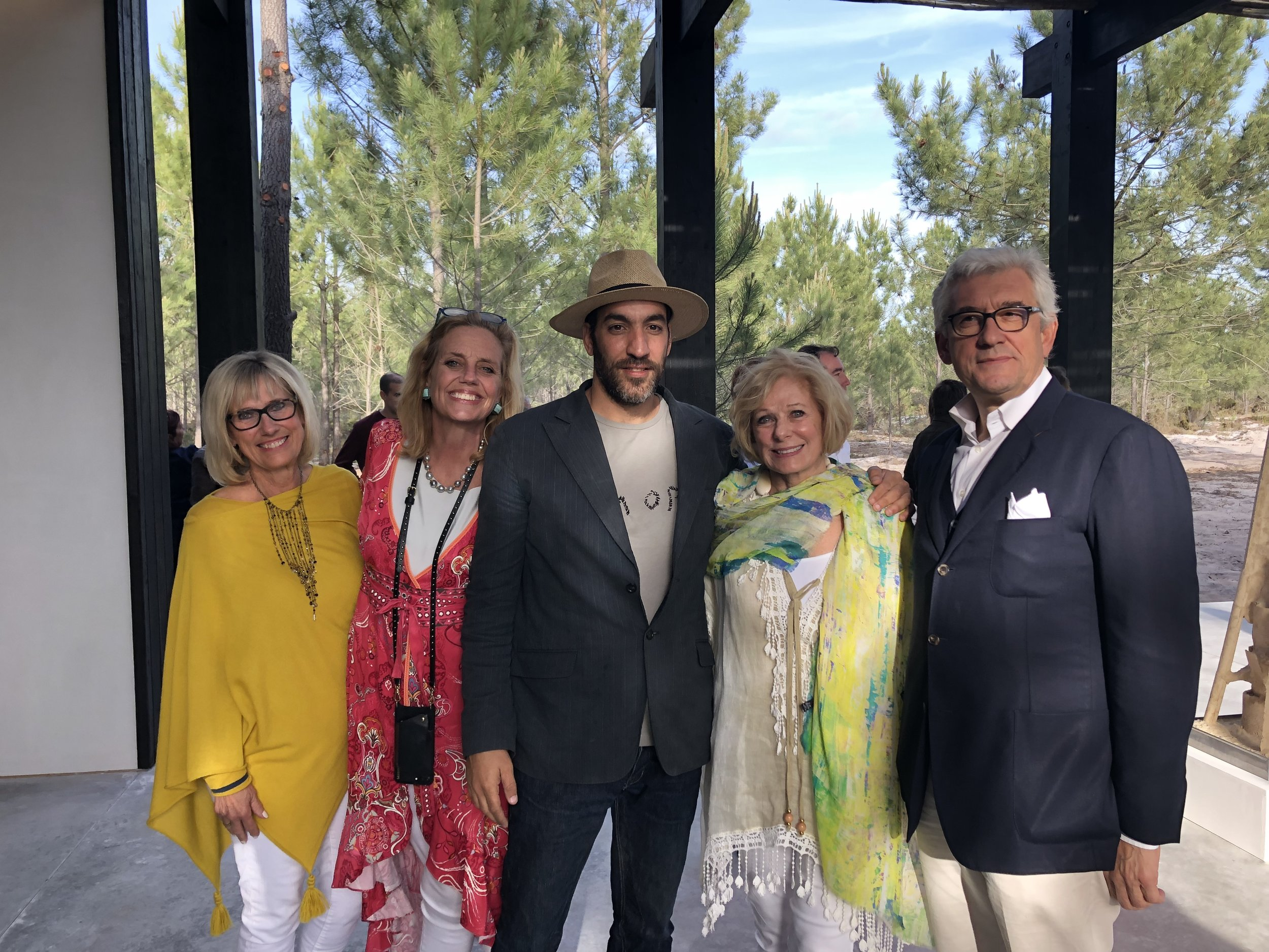 Sandy Bowen, Geralyn Dreyfous, Miguel Carvalho, Susan Swartz, and Walter Smerling pictured at the Art Pavilion at Melides Art.