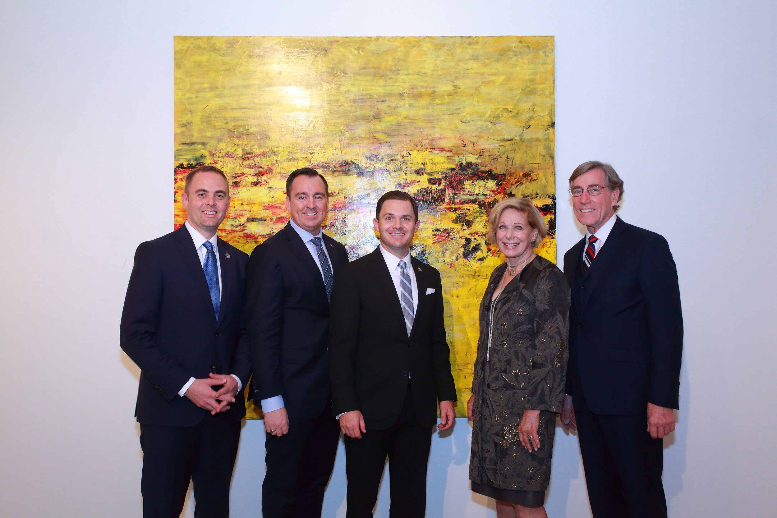 Miles Hansen, Gregory Hughes, Brad Herbert, Susan Swartz, and A. Scott Anderson pictured in front of Evolving Visions 3, a gift to CAFA from Zions Bank and the State of Utah