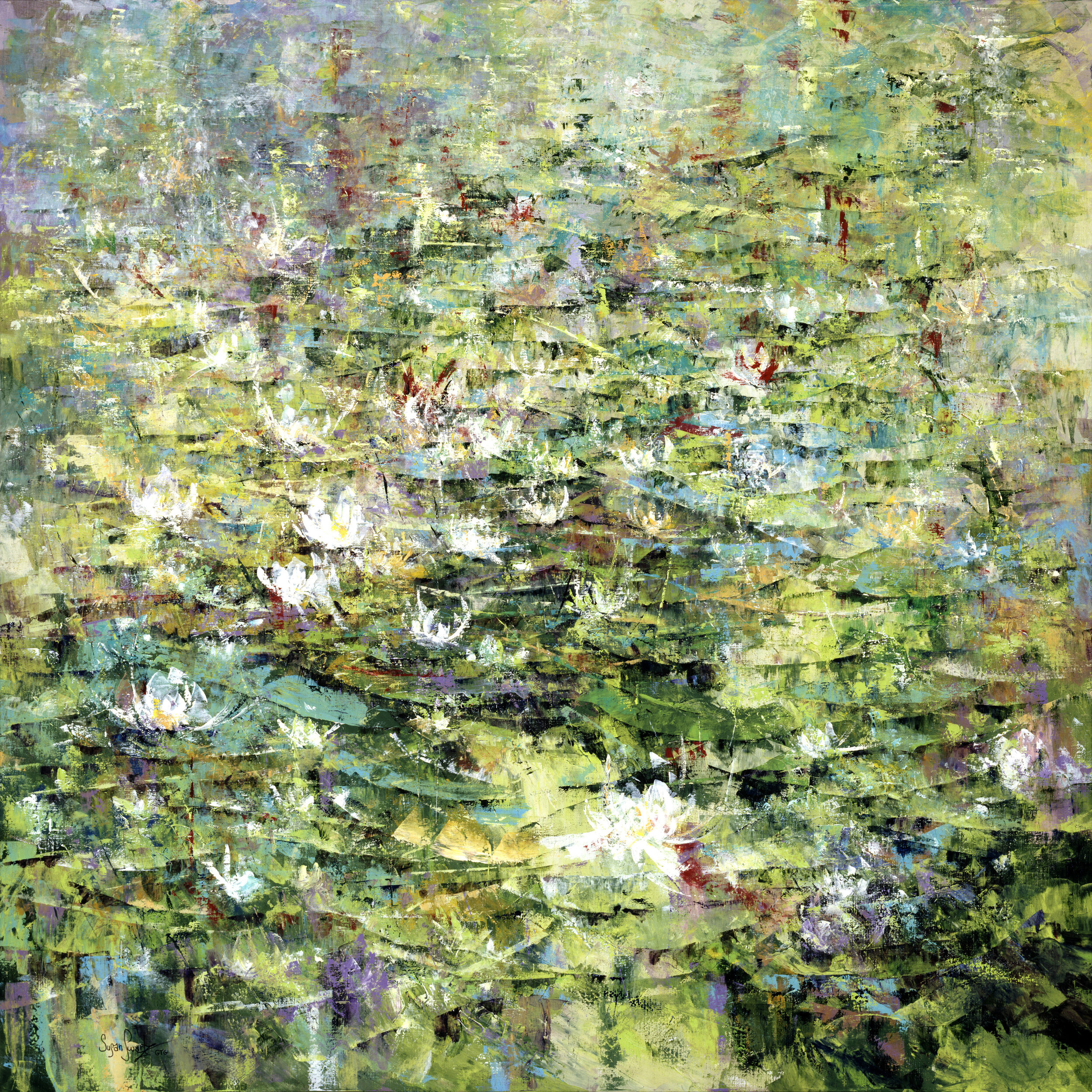 "In the midst of her illness, Susan spent an entire year completing  Serenade of Lilies  (Acrylic on linen, 72x72"" 2006). The abstract approach reveals a departure from the familiar, as she fought for the strength to paint."