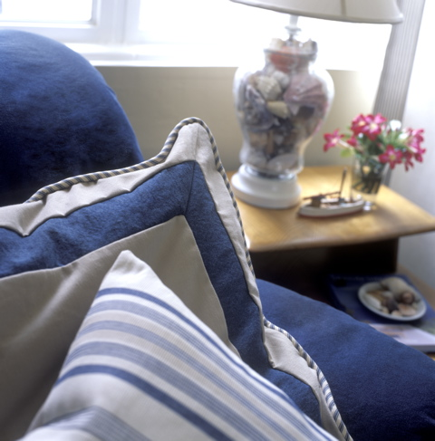 Blue and white pillows, styling magazine ready interiors | Credit: Joetta Moulden