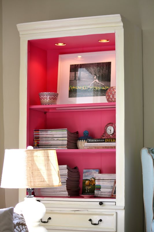 ARTICLE: Ways To Add Color To An Open Plan House | Bookcases And Cabinets Edition | Image Source:  Teal and Lime  | CLICK TO READ... http://carlaaston.com/designed/paint-bookshelf-cabinet-backs