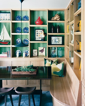 ARTICLE: Ways To Add Color To An Open Plan House | Bookcases And Cabinets Edition | Image Source:  Kristen Ellis Design  | CLICK TO READ... http://carlaaston.com/designed/paint-bookshelf-cabinet-backs