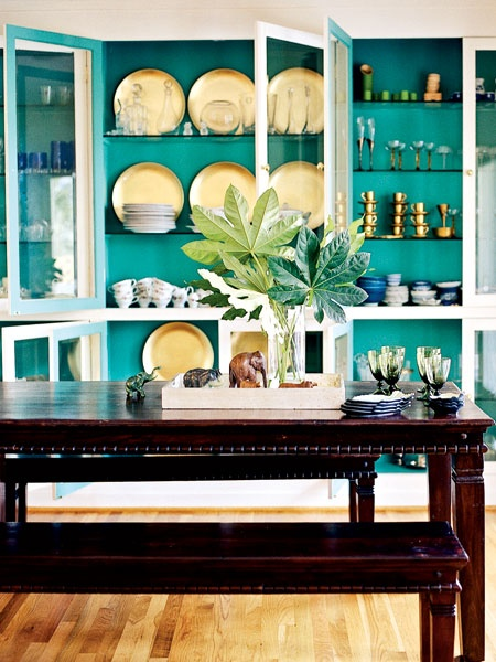 ARTICLE: Ways To Add Color To An Open Plan House | Bookcases And Cabinets Edition | Image Source:  The Handmade Home  | CLICK TO READ... http://carlaaston.com/designed/paint-bookshelf-cabinet-backs